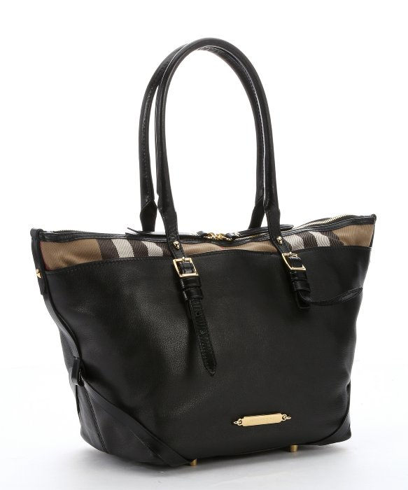 Lyst - Burberry Black Leather And Dark Tan House Check Canvas ... 74db5d2931660