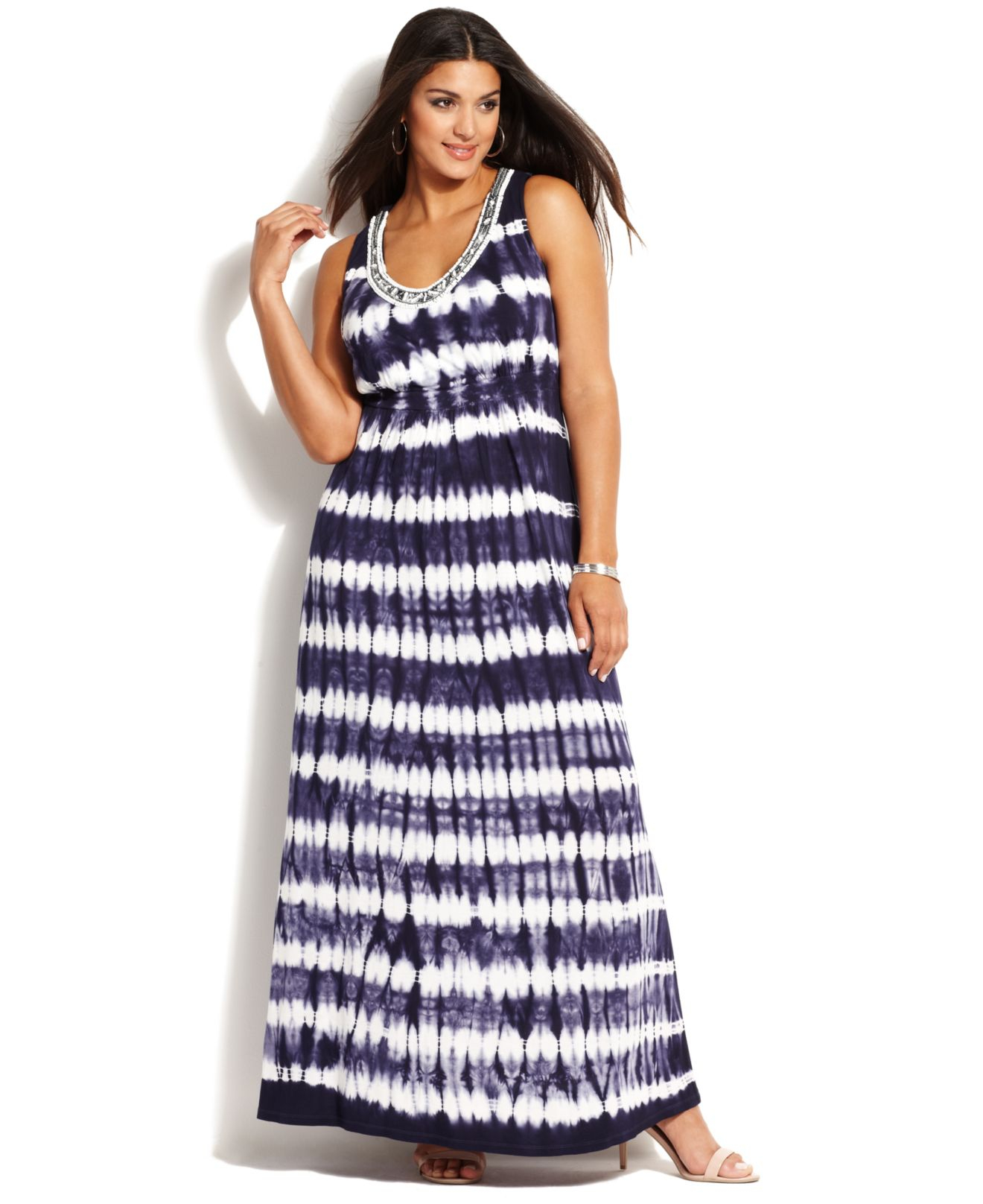INC International Concepts Plus Size Embellished Tiedye Maxi Dress ...