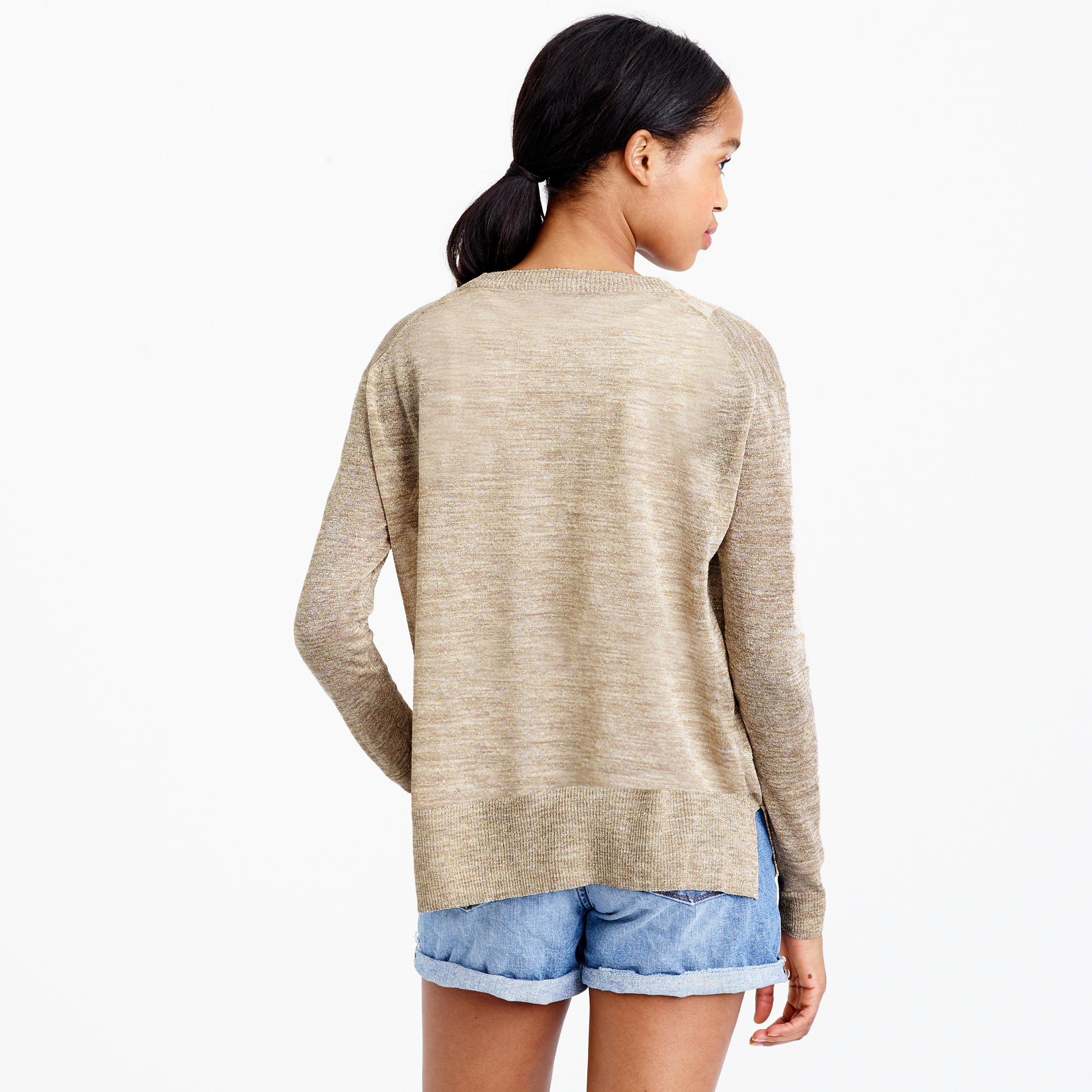 J.crew Space-dyed V-neck Cardigan Sweater in Metallic | Lyst