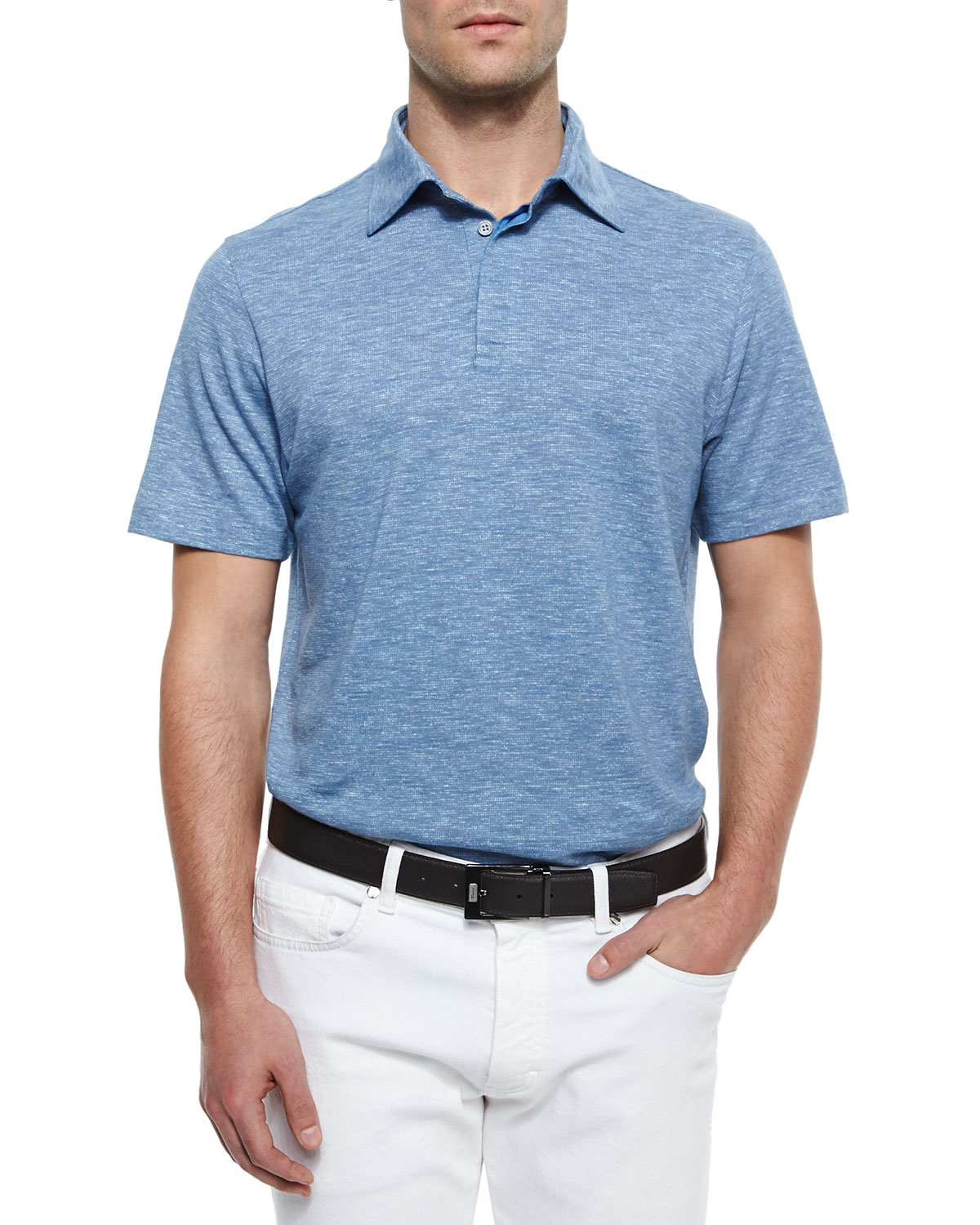 Ermenegildo zegna spread collar polo shirt in blue for men for Men s spread collar shirts