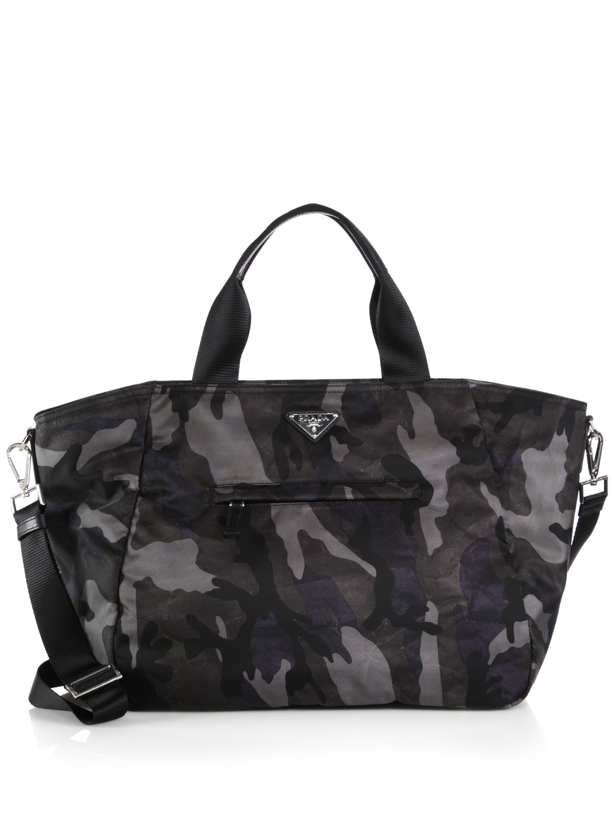 prada grey canvas shopper