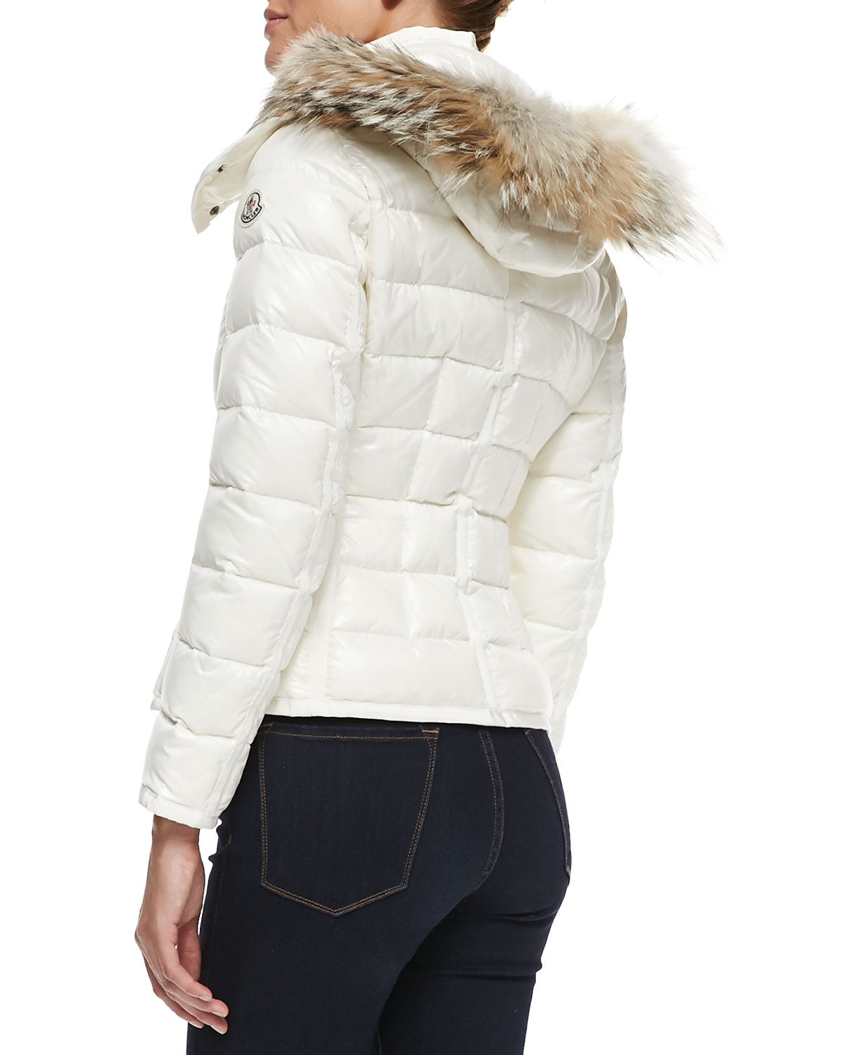 Lyst Moncler Puffer Jacket With Fur Trim Hood In White