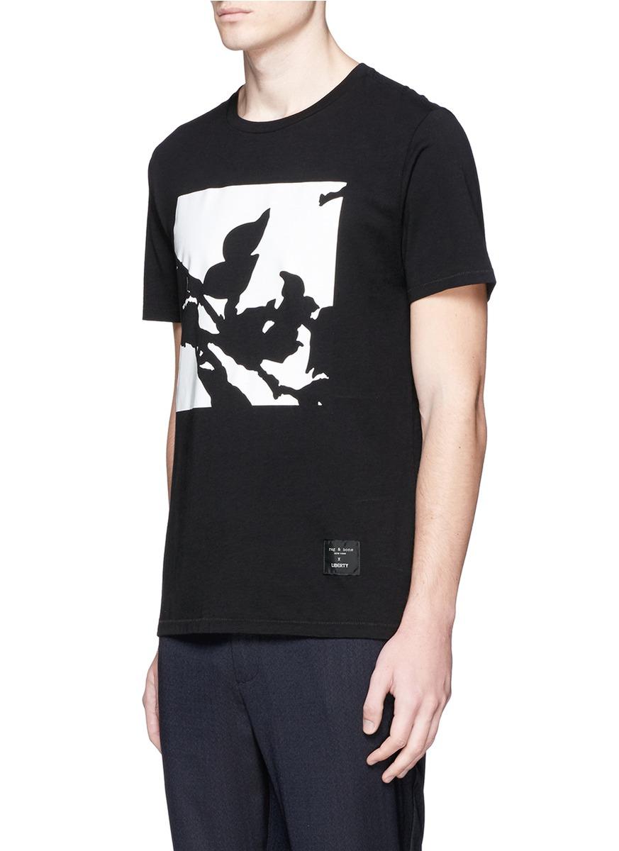 T Shirt Rag Dispenser ~ Rag bone liberty floral print t shirt in black for men