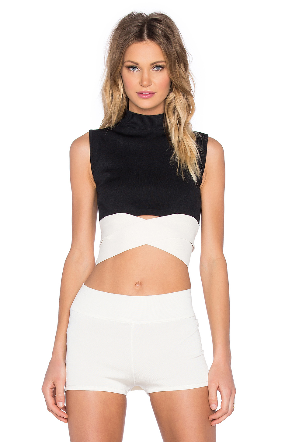Egrey High Collar Band Crop Top In Black Lyst