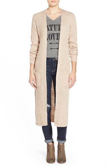 Derek heart Ribbed Duster Cardigan in Natural | Lyst