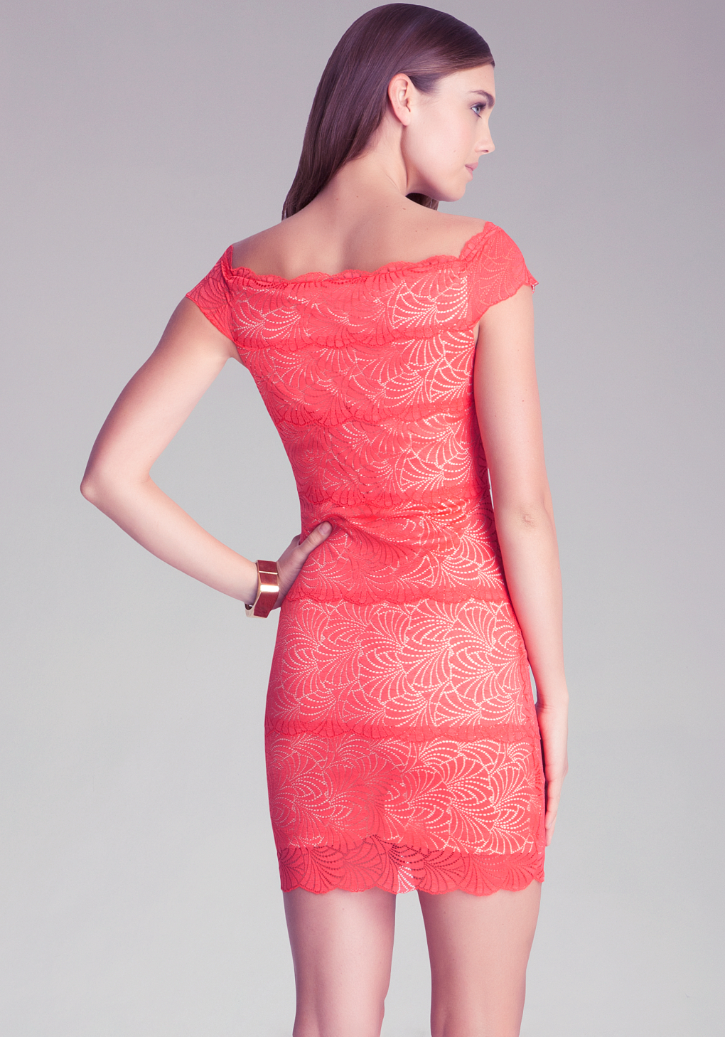 Bebe off shoulder lace dress in red lyst gallery ombrellifo Images