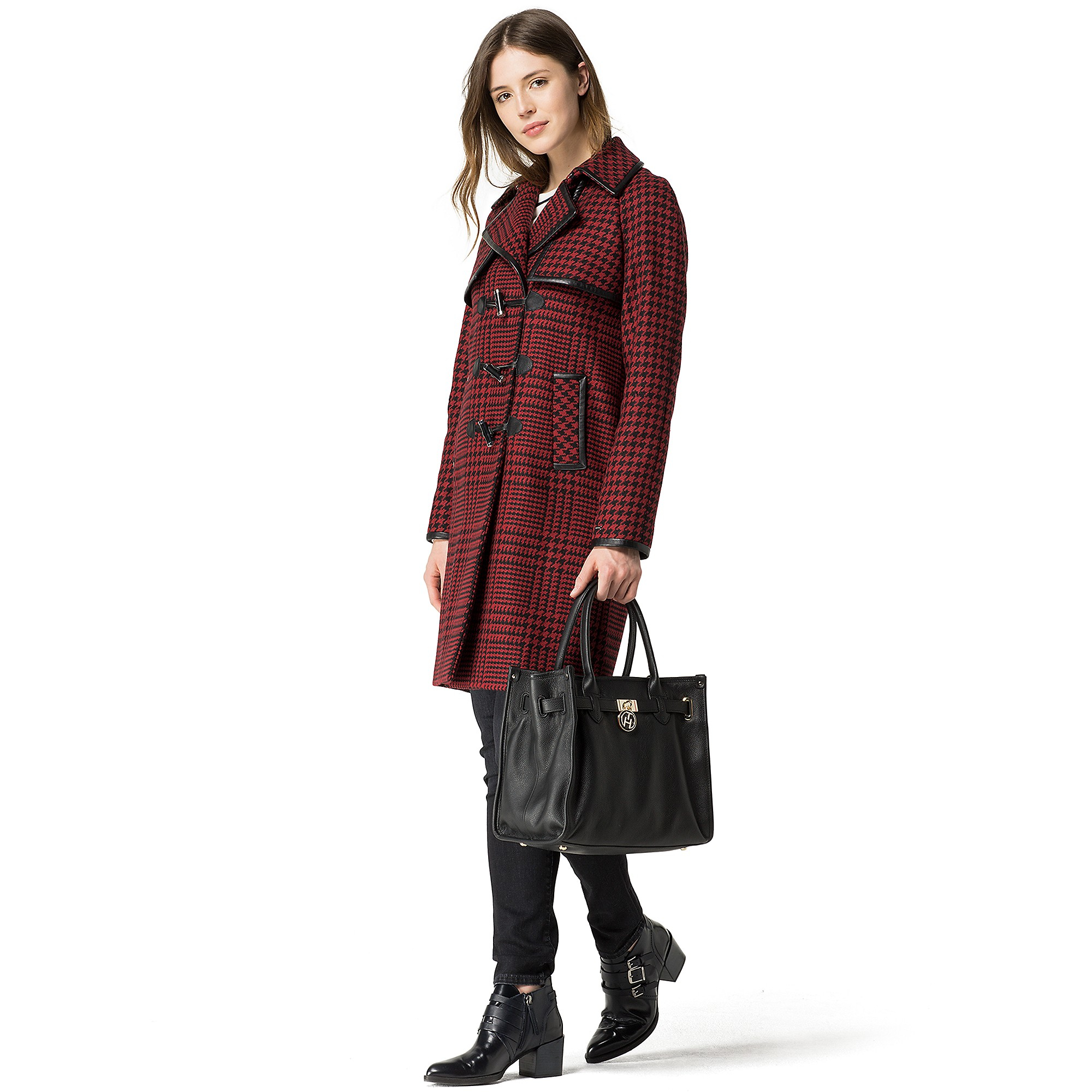 tommy hilfiger houndstooth duffle coat in red biking red masters. Black Bedroom Furniture Sets. Home Design Ideas