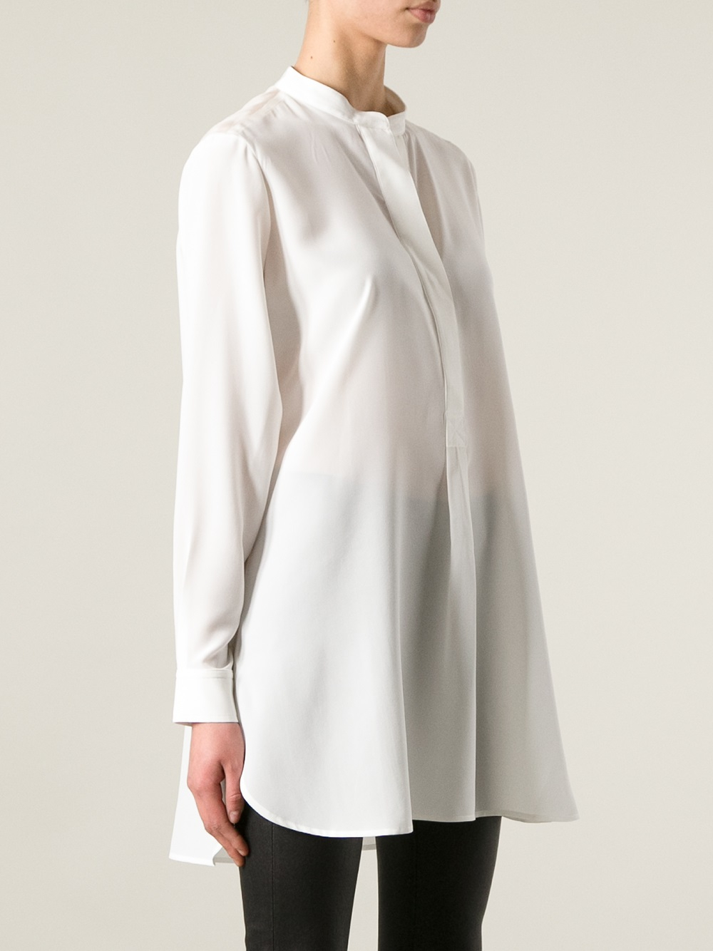 Joseph Mandarin Collar Blouse In White Lyst
