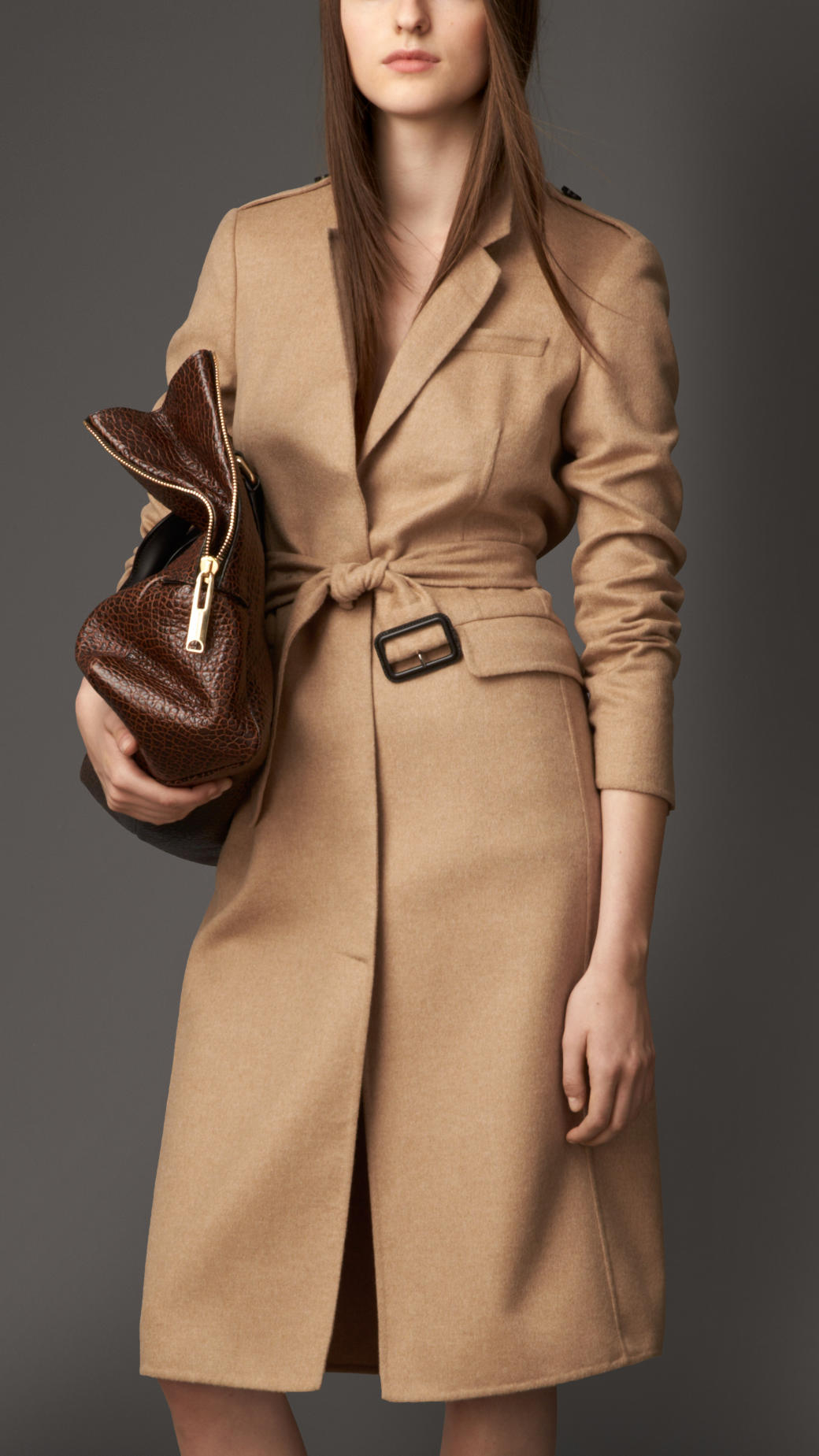 Burberry Double Cashmere Coat in Natural | Lyst