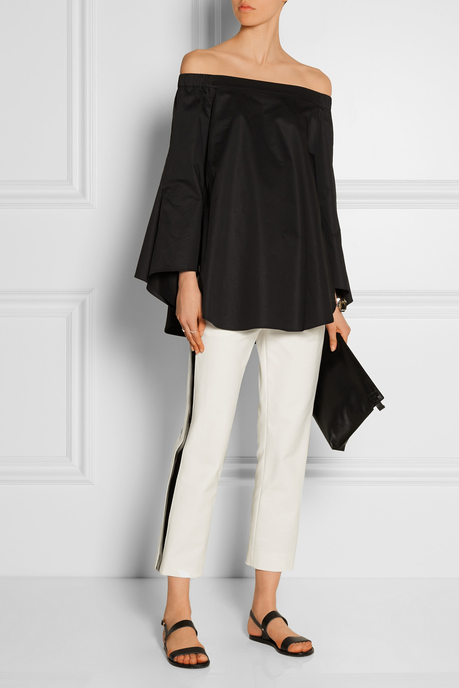 7f06718a076 Tibi Off-The-Shoulder Cotton-Poplin Top in Black - Lyst