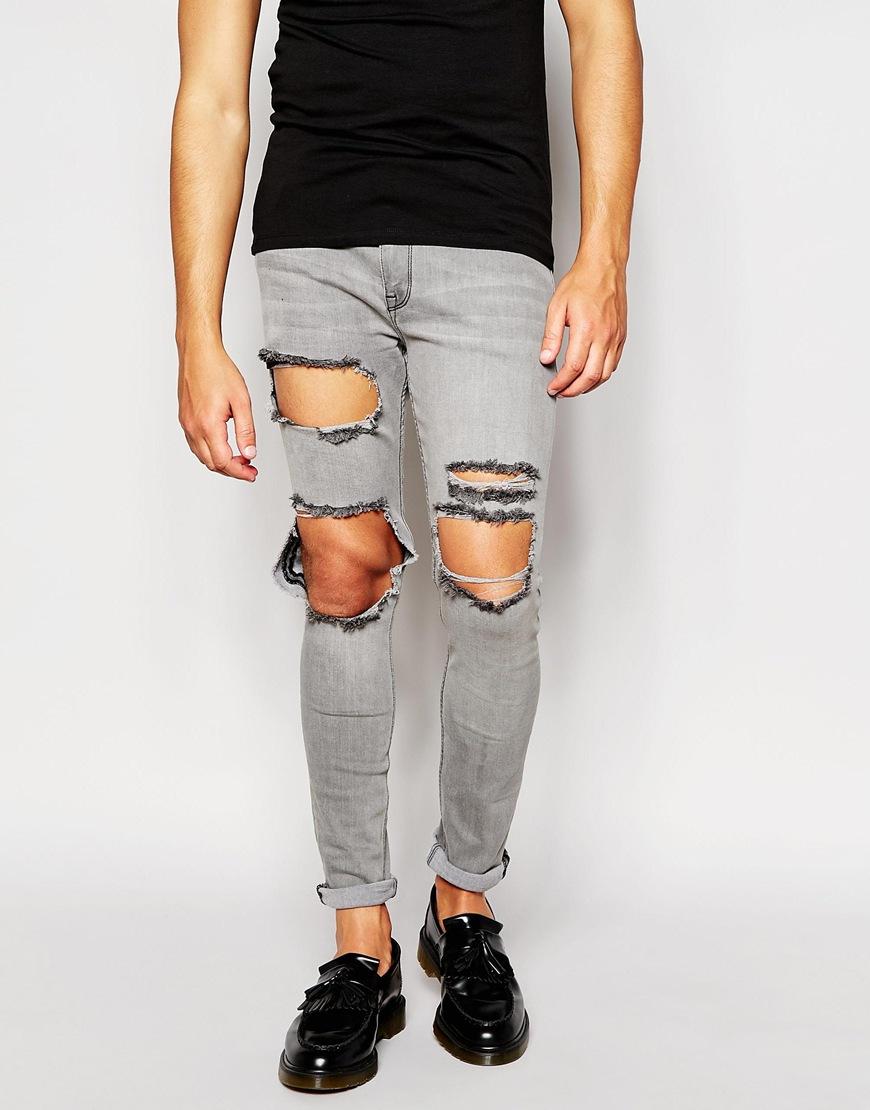 75cd22de ASOS Super Skinny Jeans With Open Rips In Grey in Gray for Men - Lyst