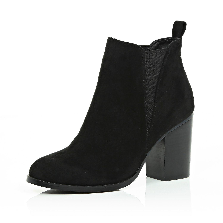 Lyst - River Island Black Heeled Chelsea Boots in Black feebb9feb