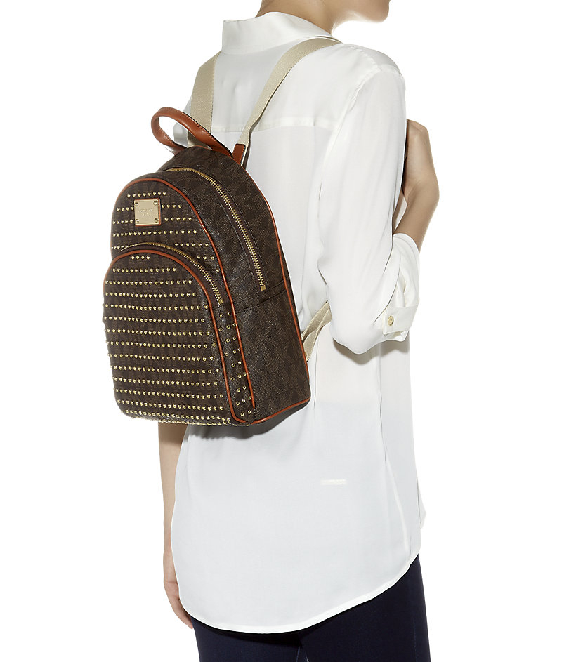 ... czech michael michael kors small jet set studded backpack in brown lyst  cbdf6 393eb c35968484a