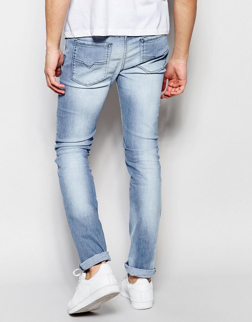 06724bbf DIESEL Jeans Sleenker 673e Skinny Fit Stretch Light Blue Wash in ...