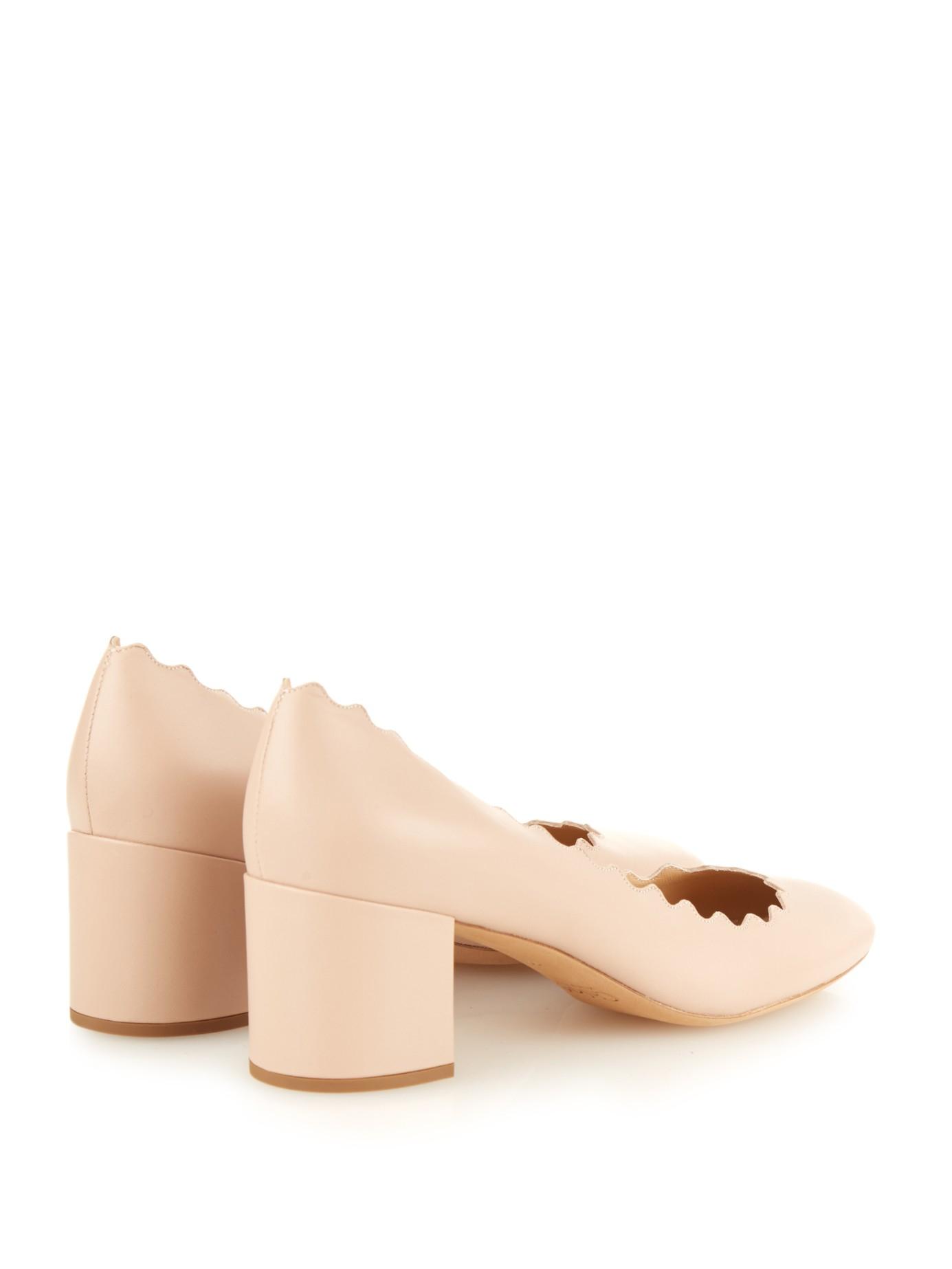 0a3c0262926 Lyst - Chloé Lauren Scalloped-edge Block-heel Leather Pumps in Pink