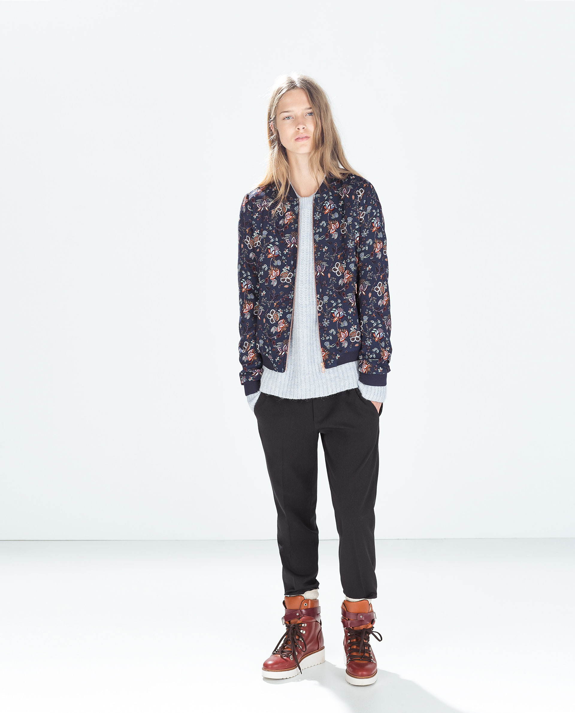 Zara Floral Bomber Jacket in Blue | Lyst