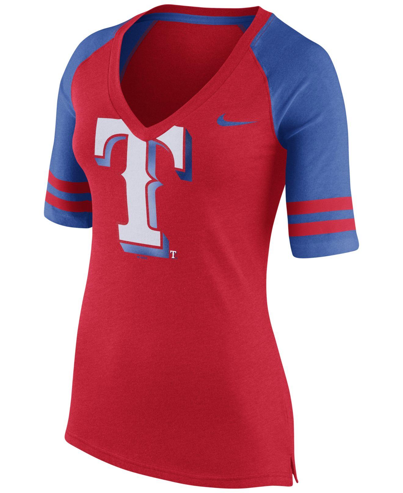 Nike Women 39 S Texas Rangers Logo Fan Top T Shirt In Blue Lyst
