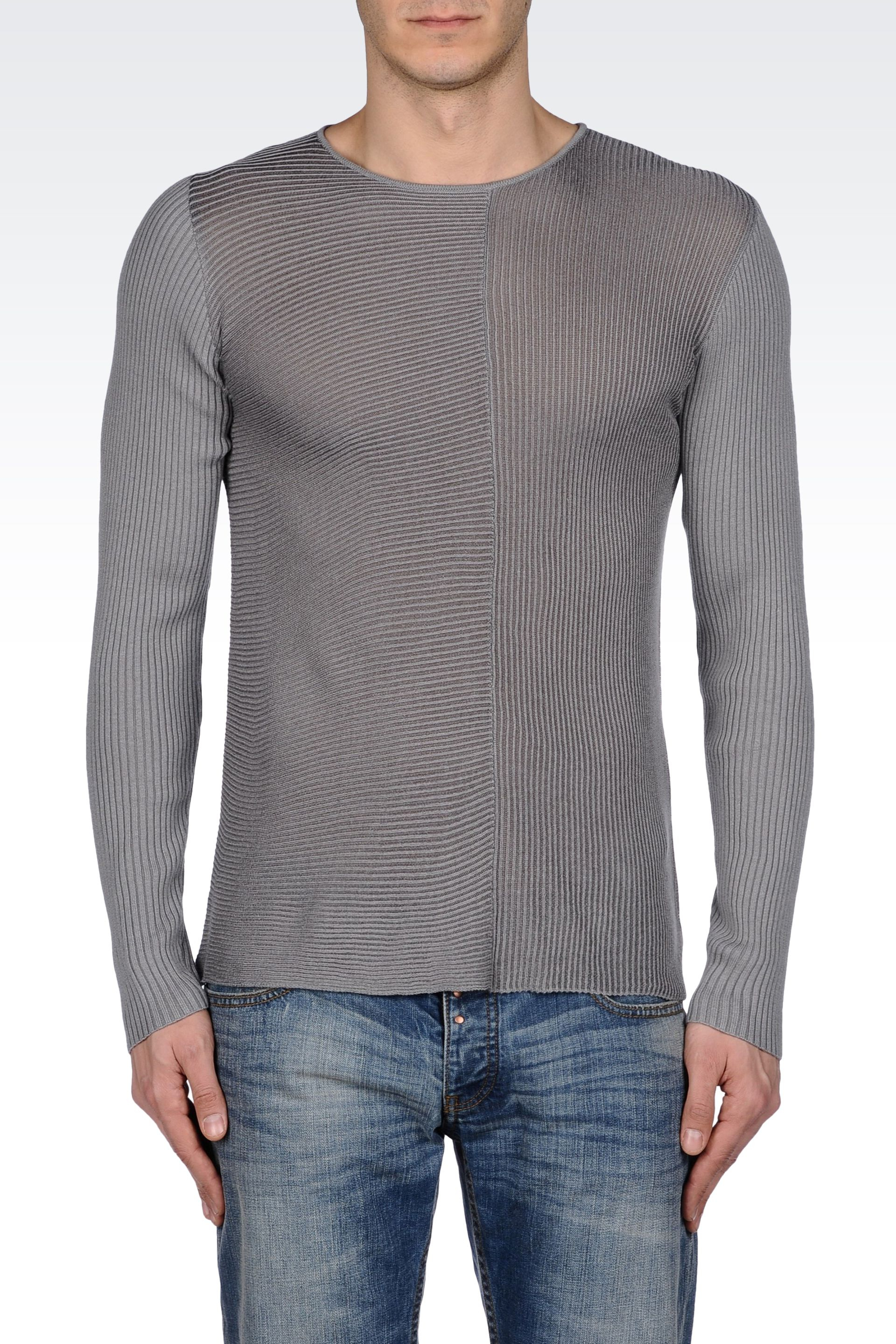 emporio armani sweater in ribbed cotton viscose in gray for men lyst. Black Bedroom Furniture Sets. Home Design Ideas