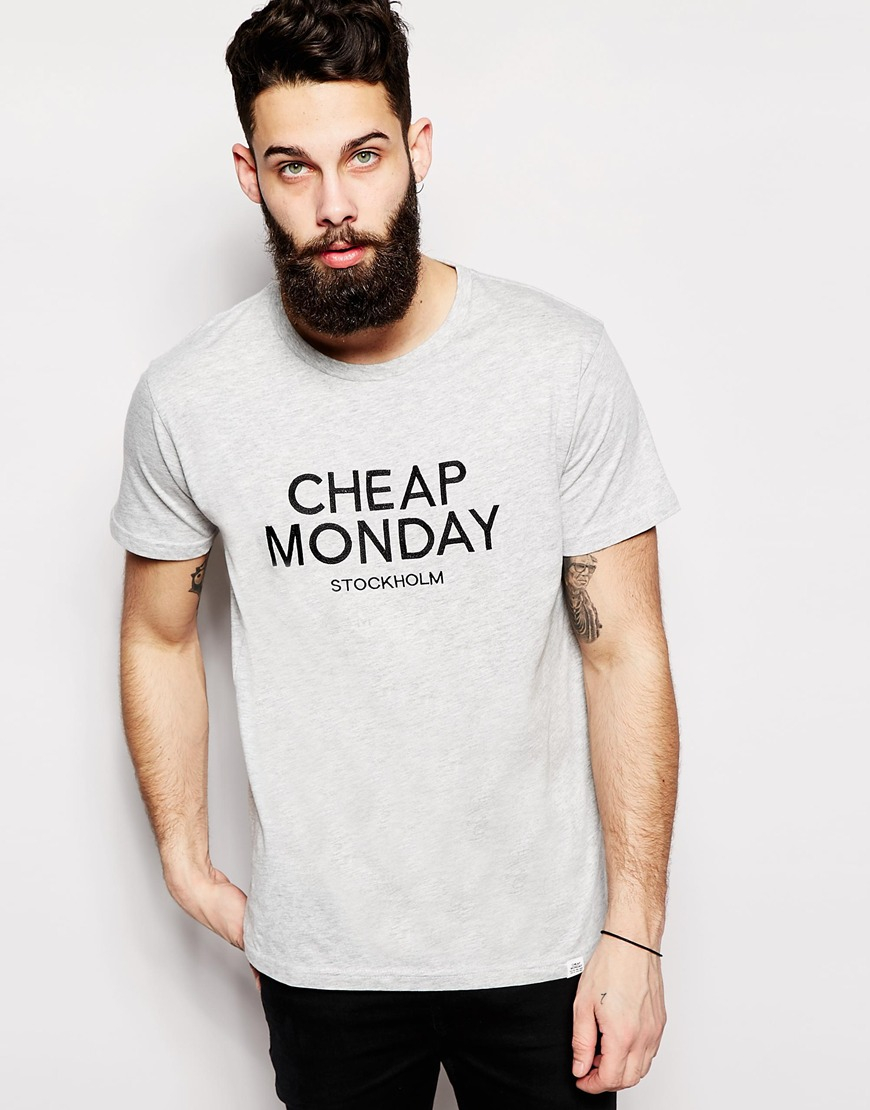 Cheap monday T-shirt Standard Stockholm Logo Embroidery Melange in ...