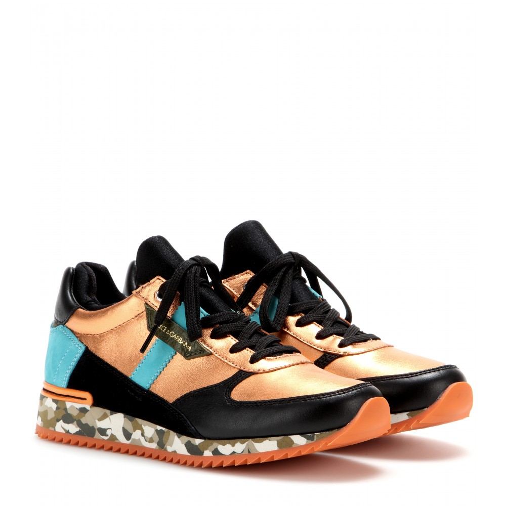 Dolce Amp Gabbana Leather And Fabric Sneakers In Gold