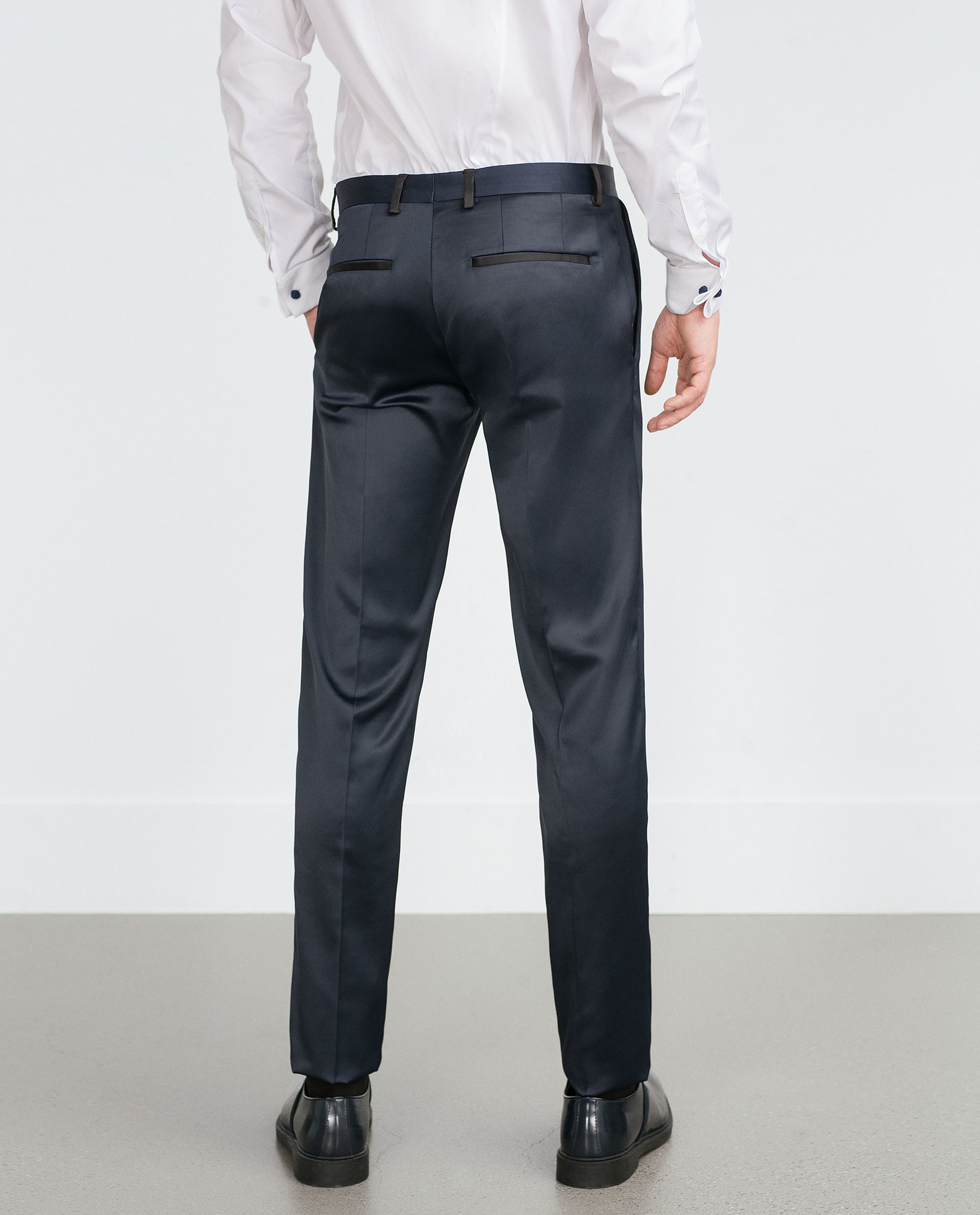Zara Silk Satin Suit Trousers in Blue for Men