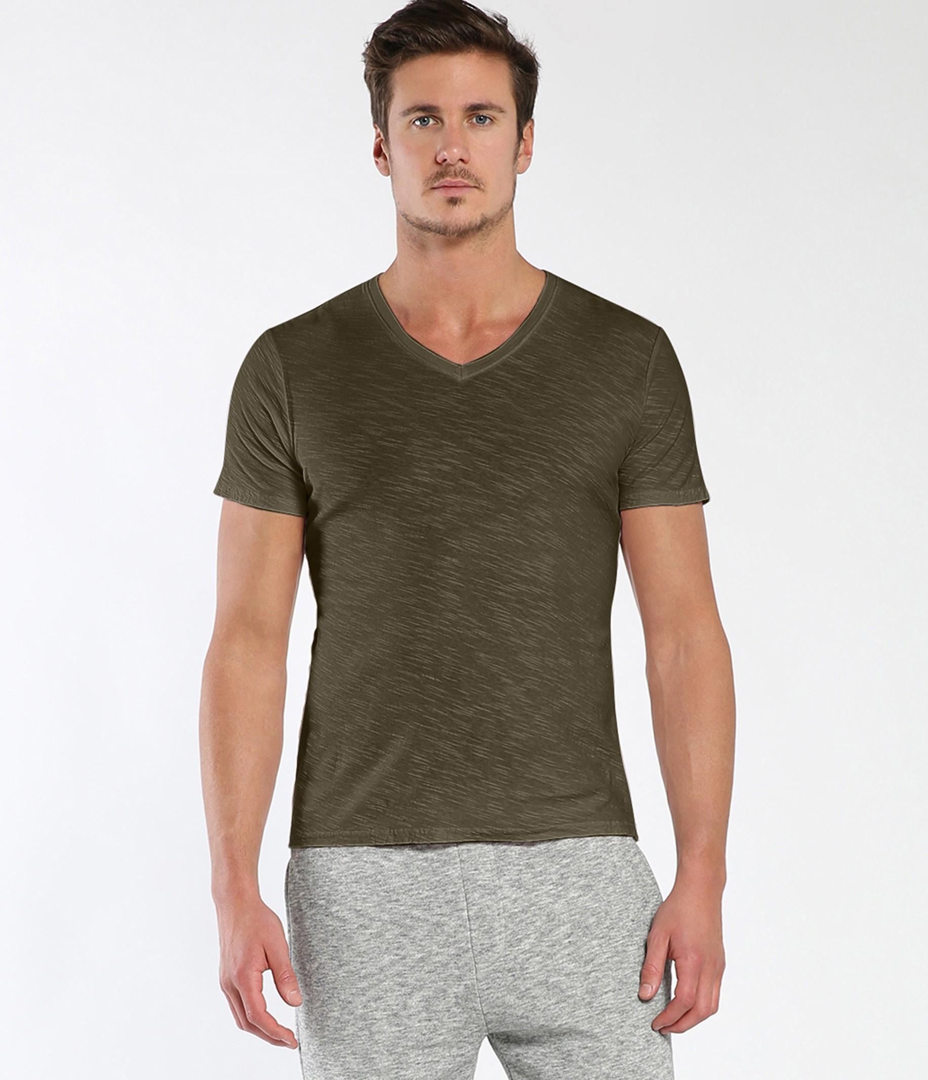Michael stars california slub short sleeve v neck tee in for Michael stars tee shirts