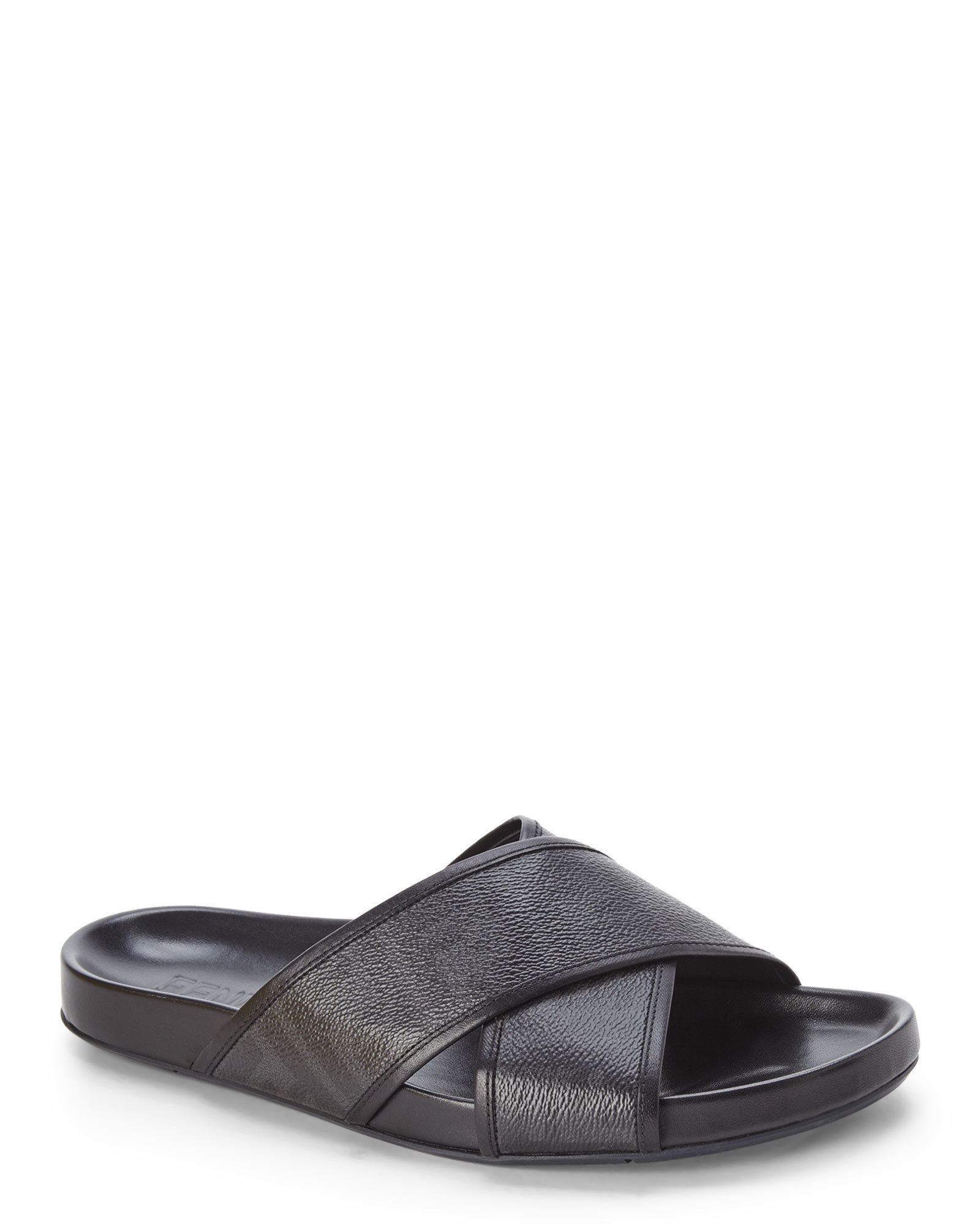 Fendi Black Zucca Cross Strap Footbed Sandals In Black For