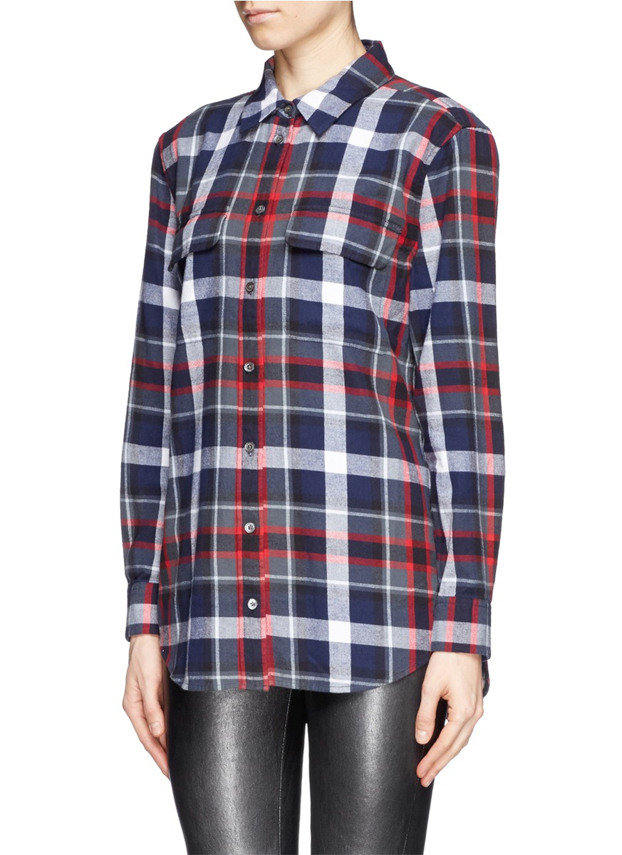 lyst equipment 39 signature 39 tartan check plaid cotton shirt in blue. Black Bedroom Furniture Sets. Home Design Ideas