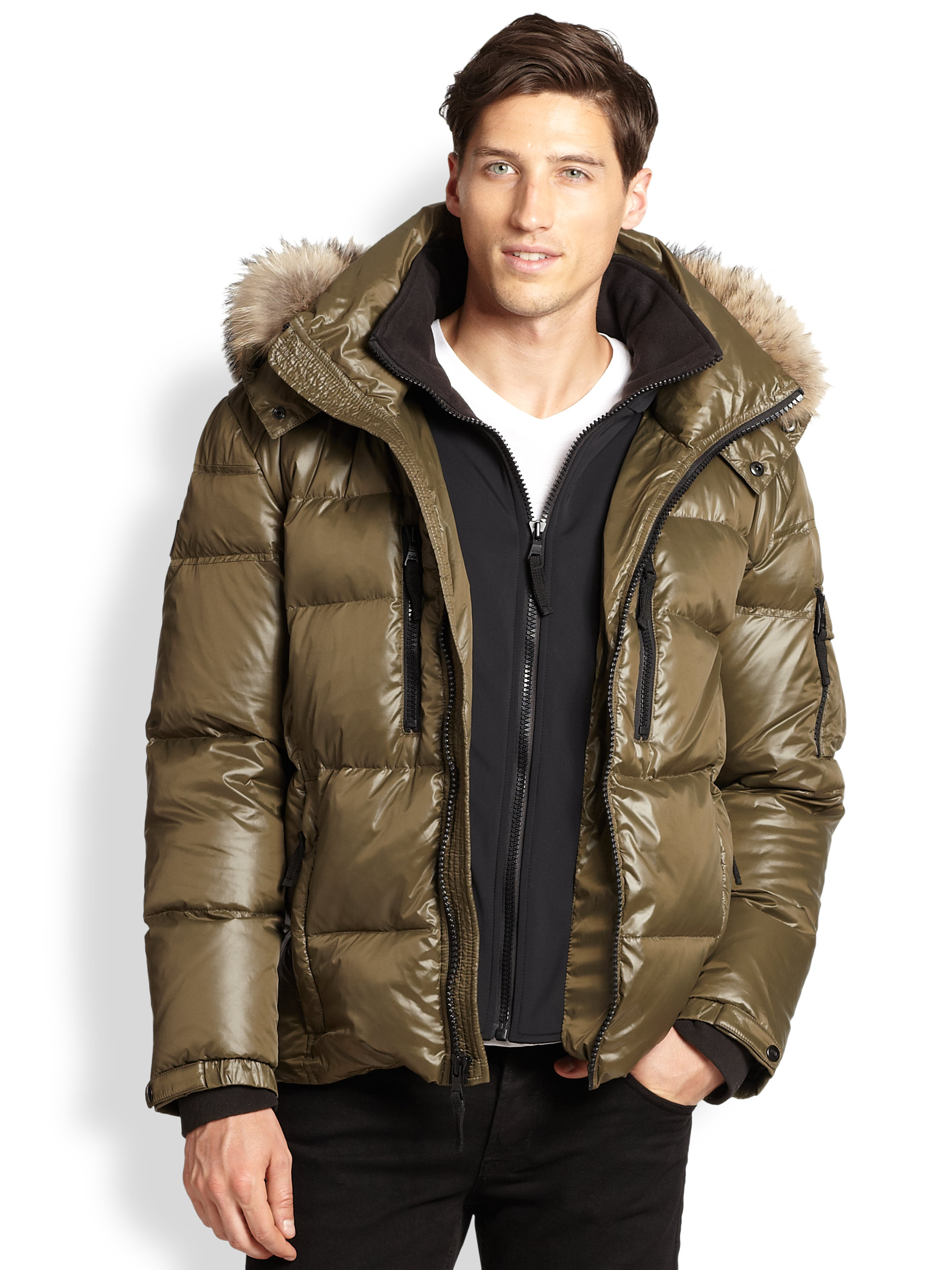 Sam Fur Trimmed Mountain Puffer Jacket In Beige For Men