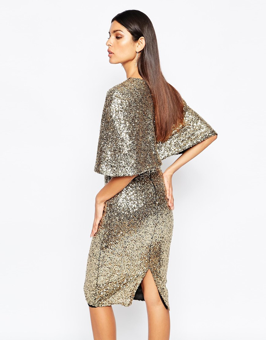 Lyst Club L Kimono Sleeve Midi Dress In Allover Sequin