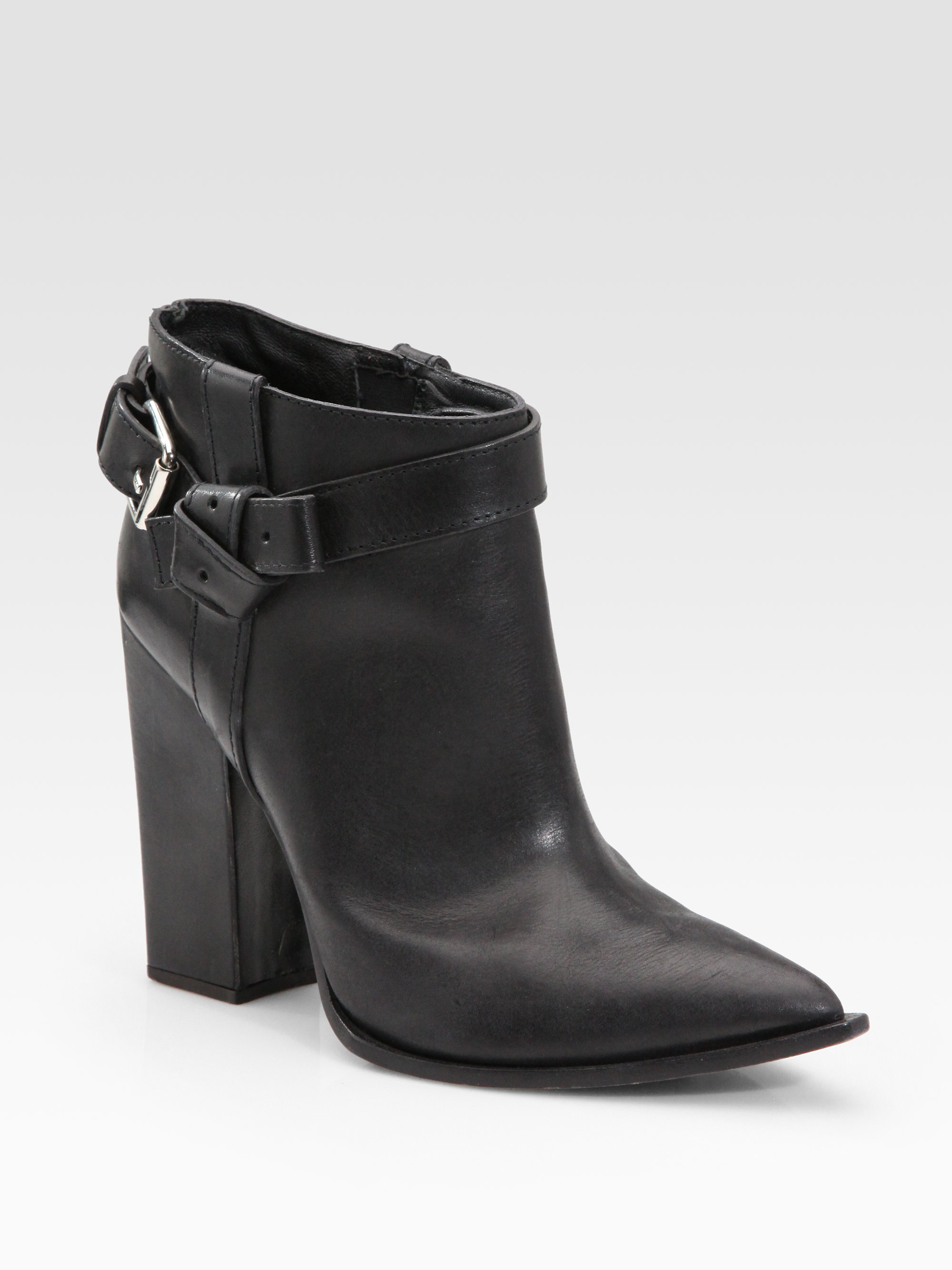 thakoon chunky heel leather ankle boots in black lyst