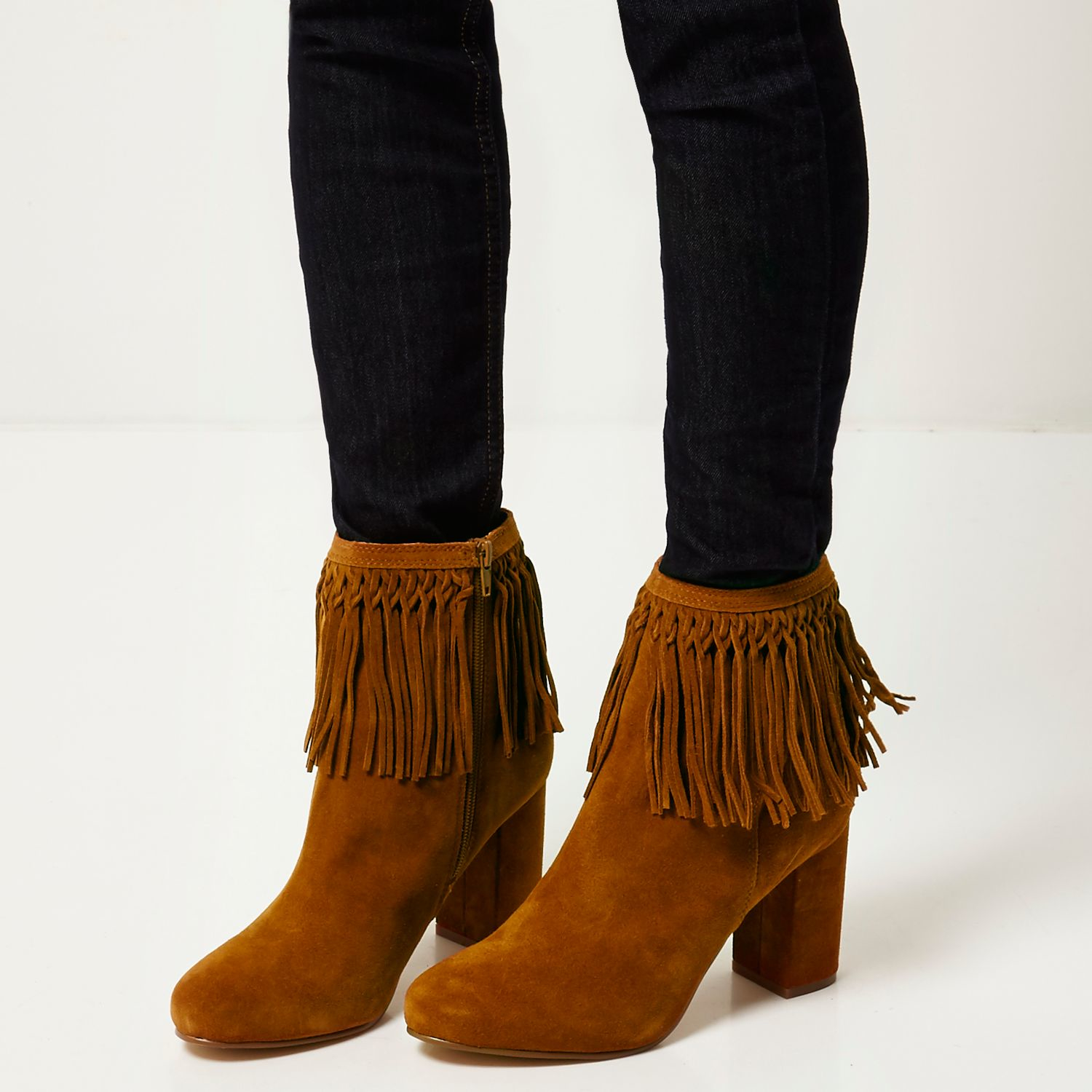 river island brown suede tassel ankle boots in brown