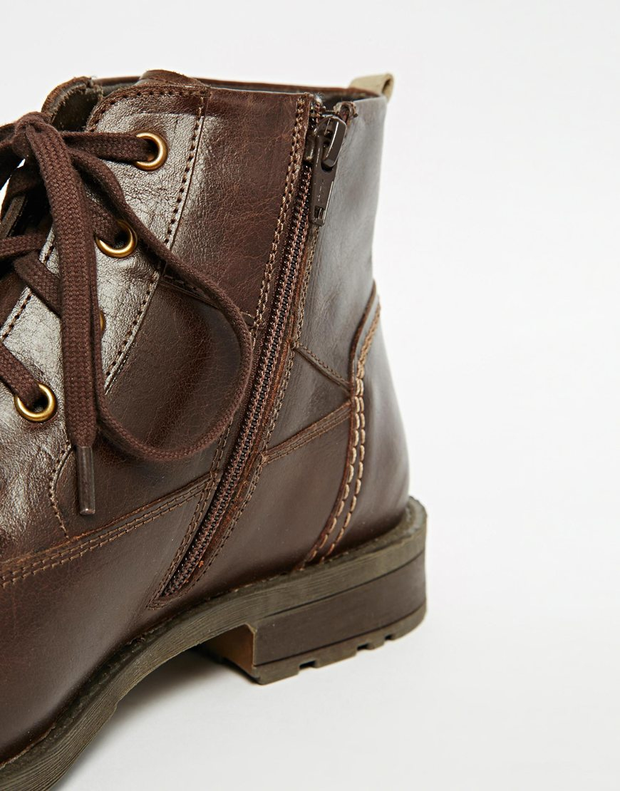 Lyst Original Penguin Lace Up Zip Boots In Brown For Men