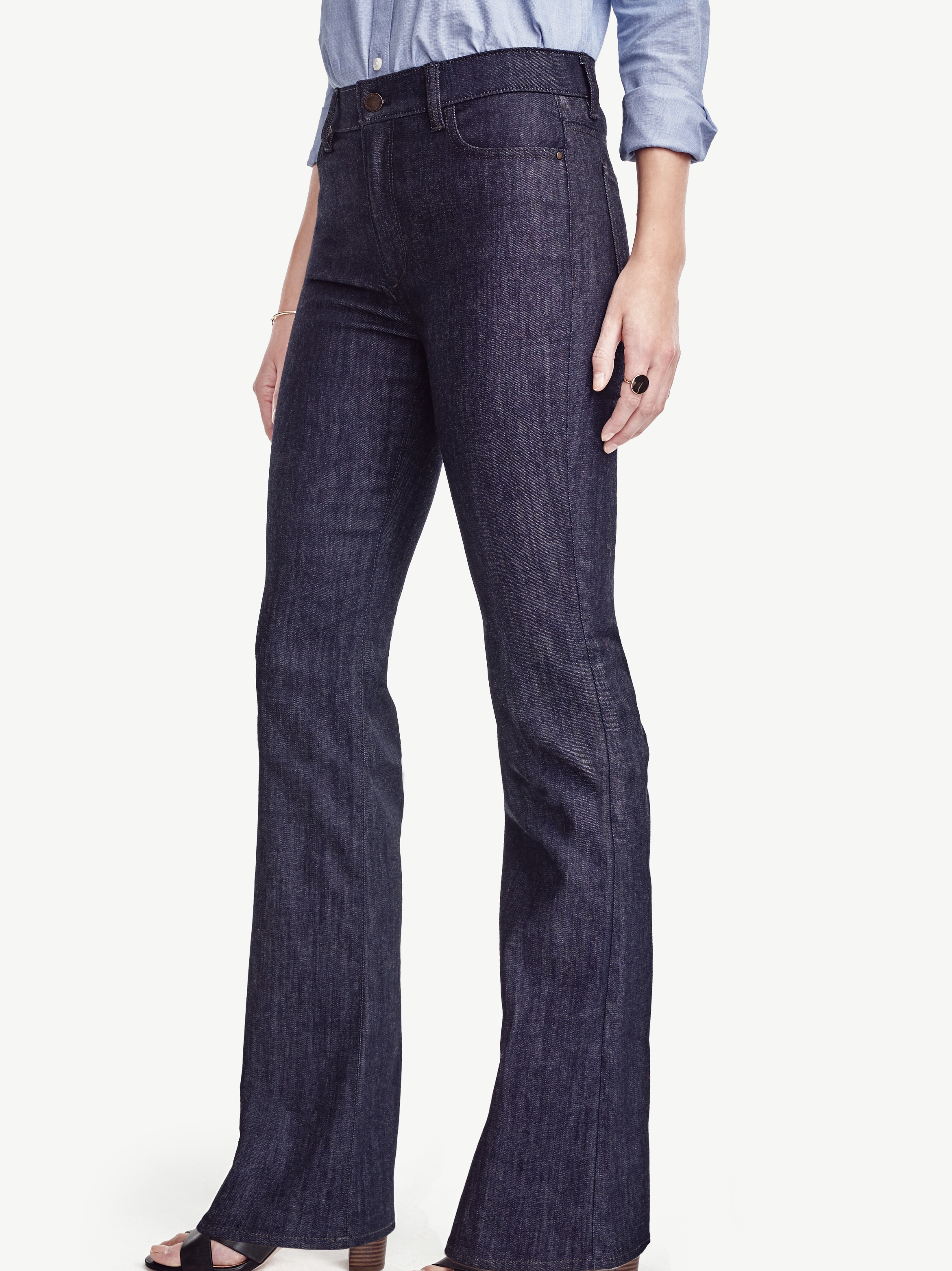 Ann taylor Petite High Waisted Flare Jeans in Blue | Lyst