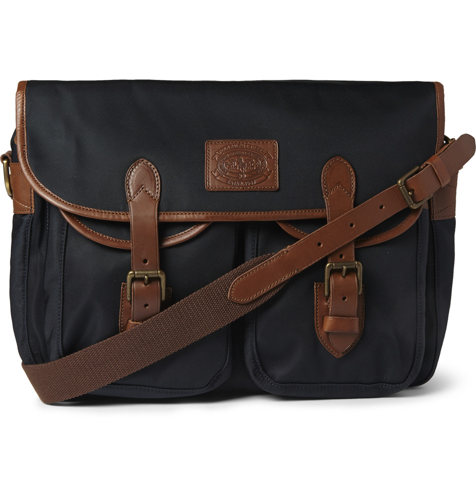 dac73c4452 Polo Ralph Lauren Leather-Trimmed Canvas Messenger Bag in Blue for ...