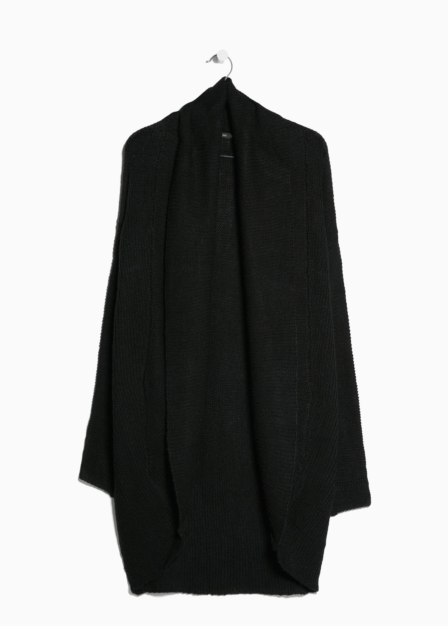 Mango Lapel Wool-Blend Cardigan in Black | Lyst