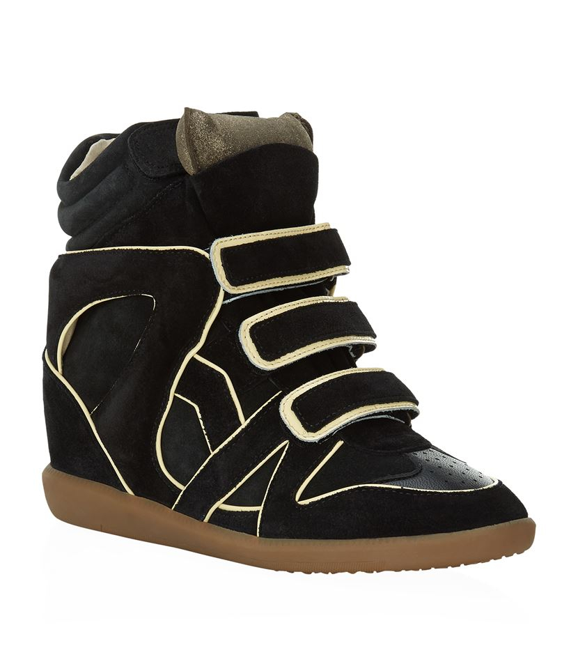isabel marant wila suede wedge sneaker in black lyst. Black Bedroom Furniture Sets. Home Design Ideas