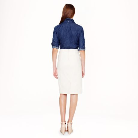 j crew pencil skirt in stretch cotton in white vanilla