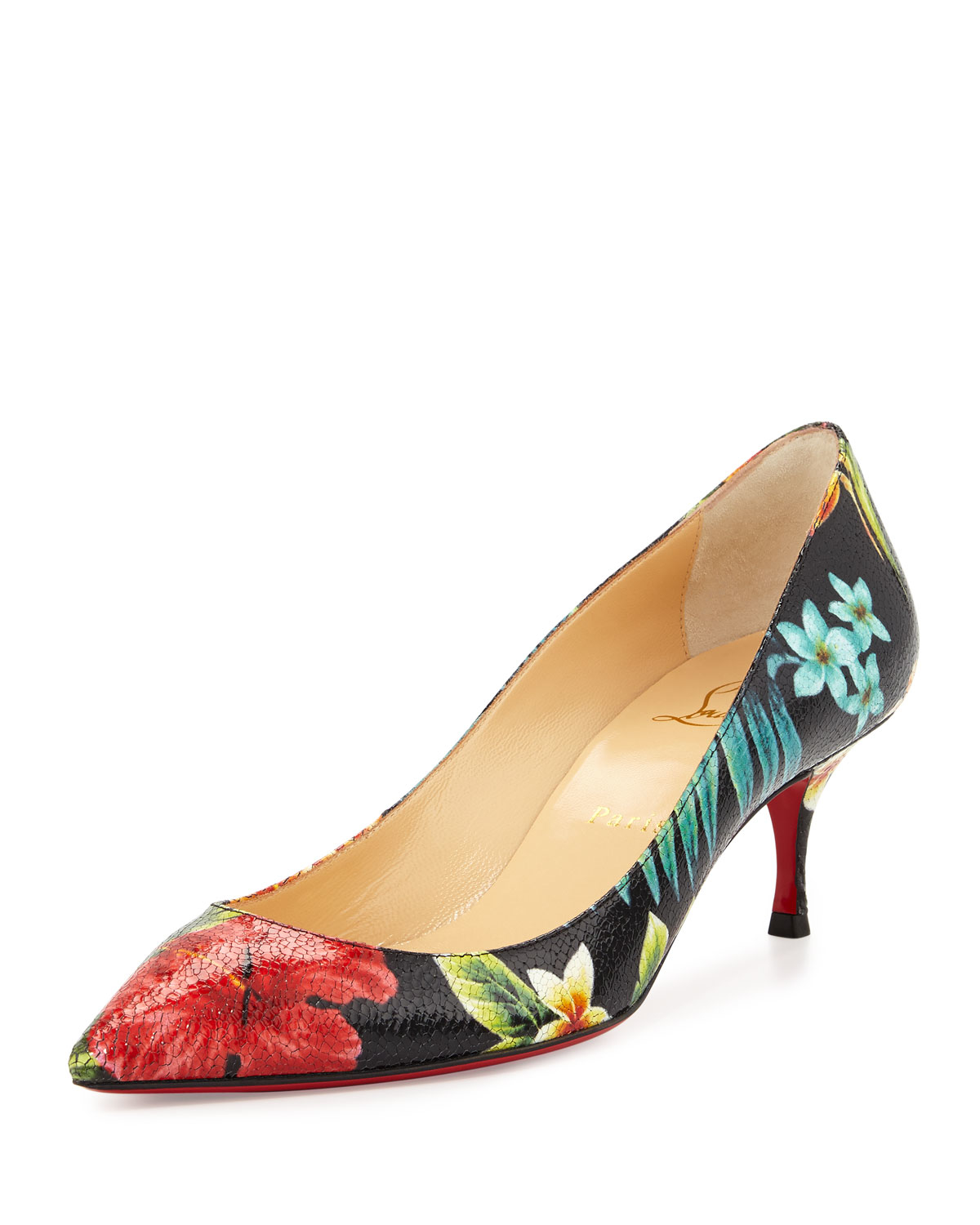 Christian louboutin Pigalle Follies Floral 55mm Red Sole Pump in ...