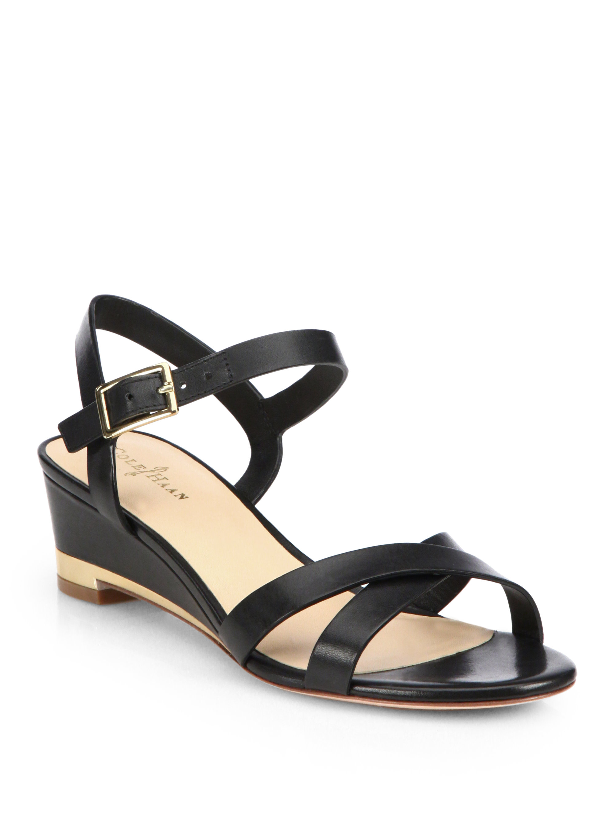 Cole Haan Patent Leather Wedge Sandals finishline for sale NI21rb1Cb