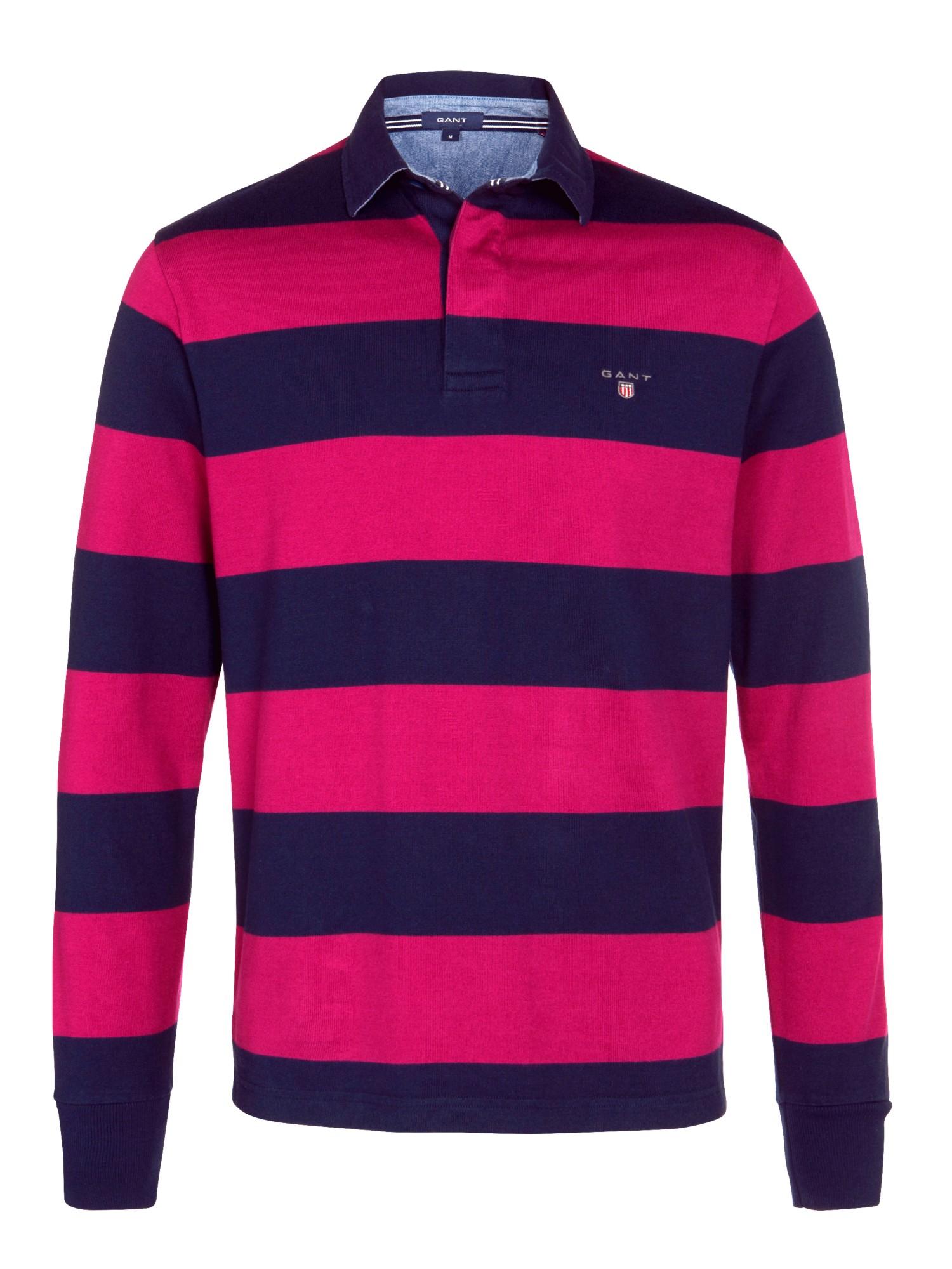 Gant bar stripe long sleeve rugby shirt in purple for men for Long sleeve striped rugby shirt