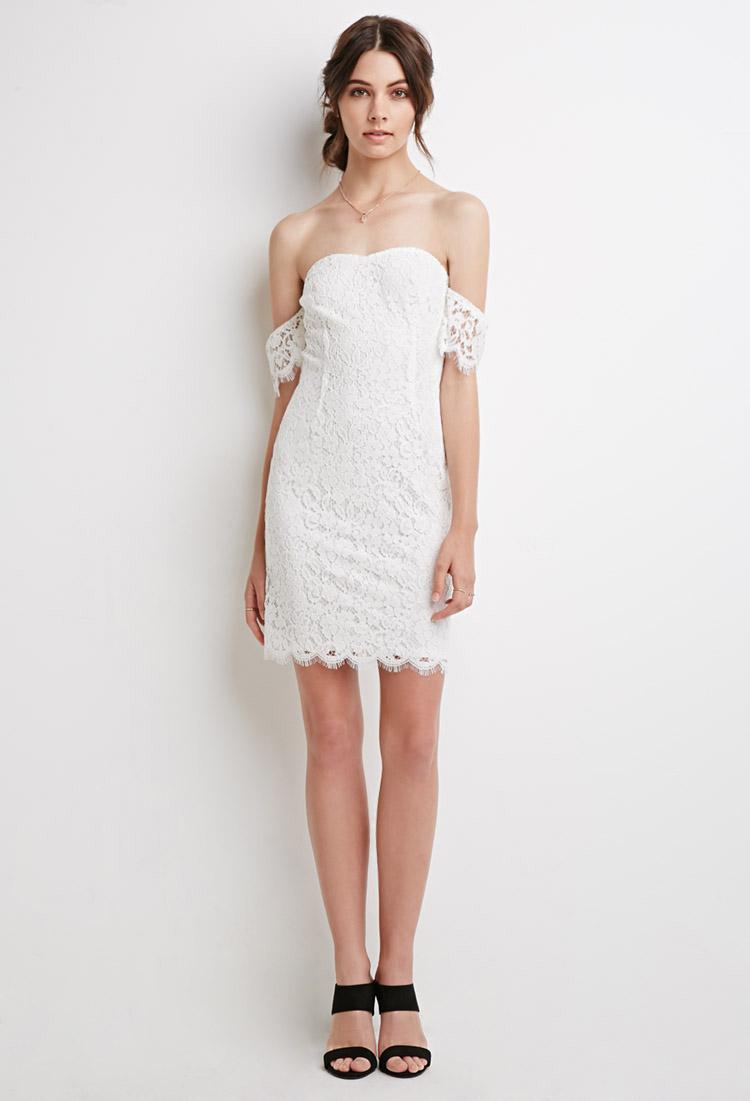 F21 white lace dress.