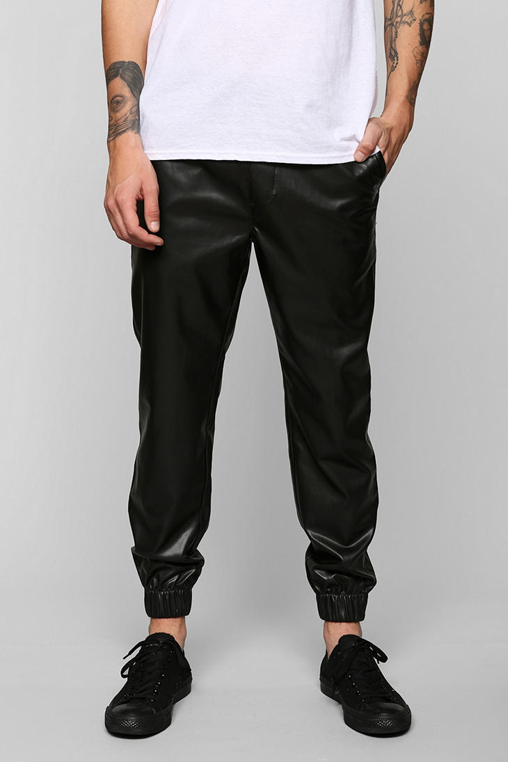 Feathers Lightweight Faux-Leather Jogger Pant In Black For Men | Lyst