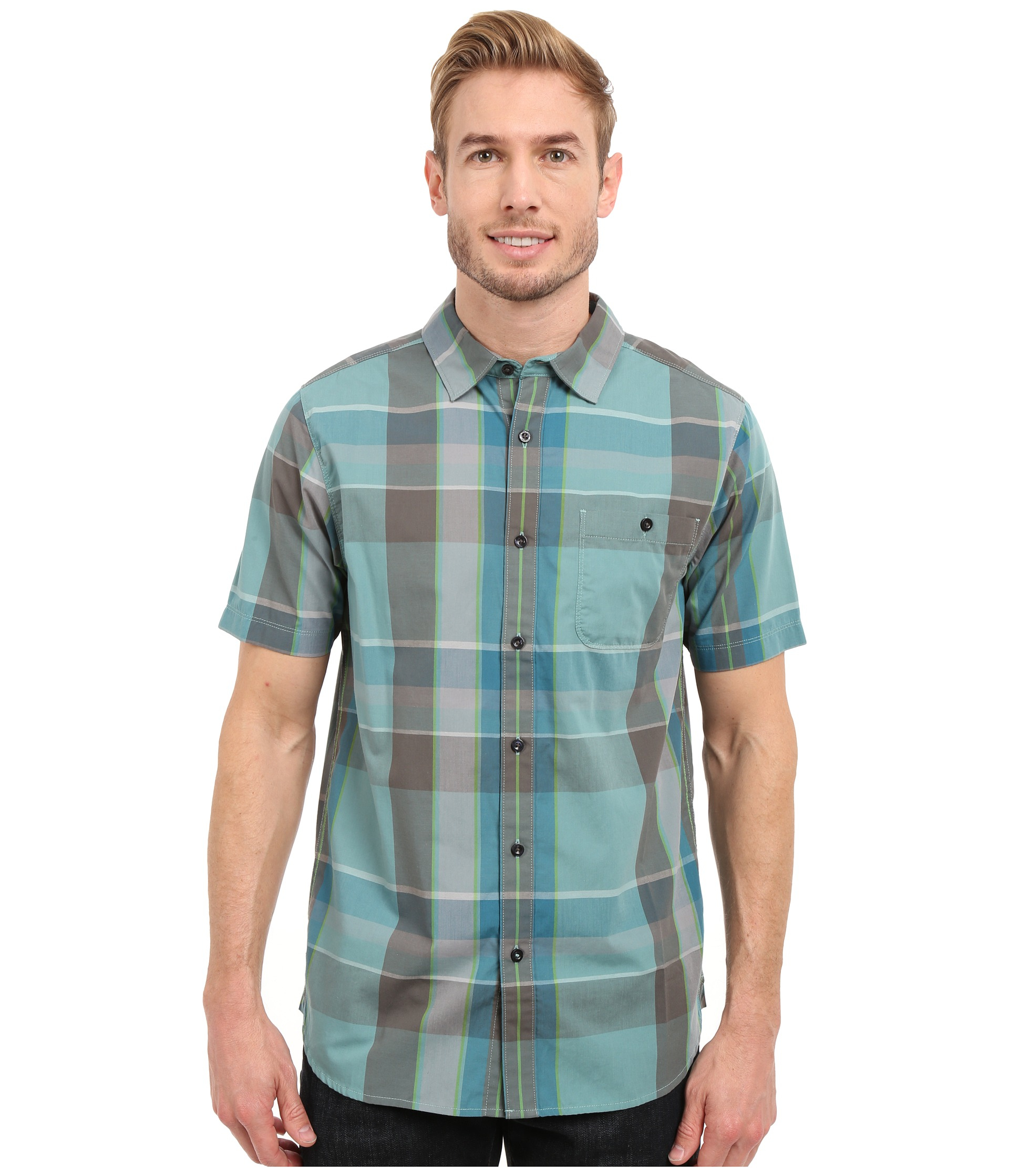 The North Face. Men's Blue Short Sleeve Exploded Plaid Shirt