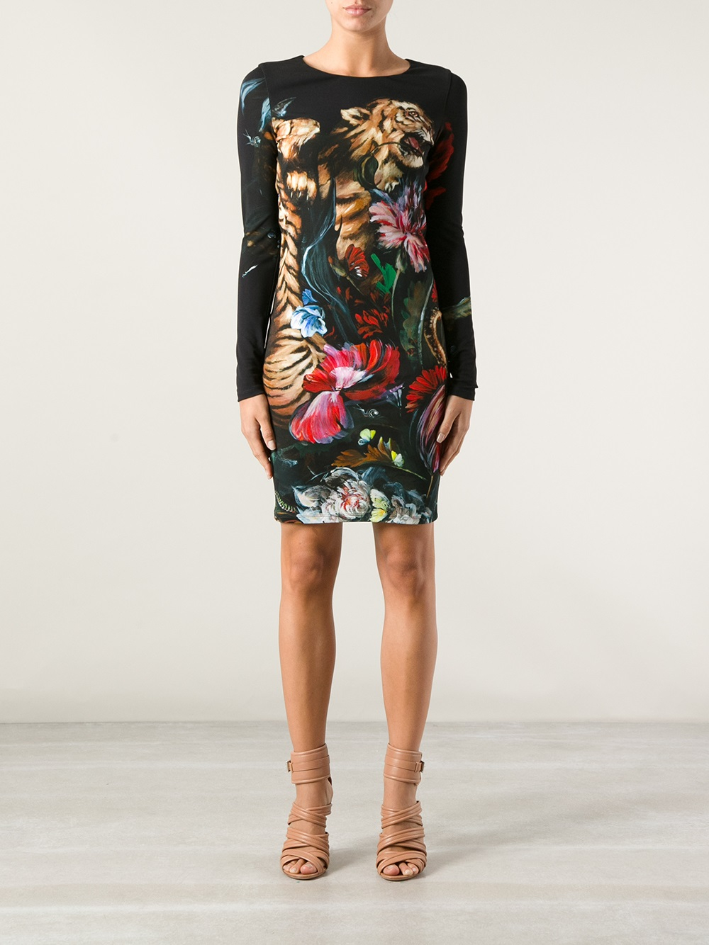 Roberto Cavalli Tiger Print Dress In Black Lyst