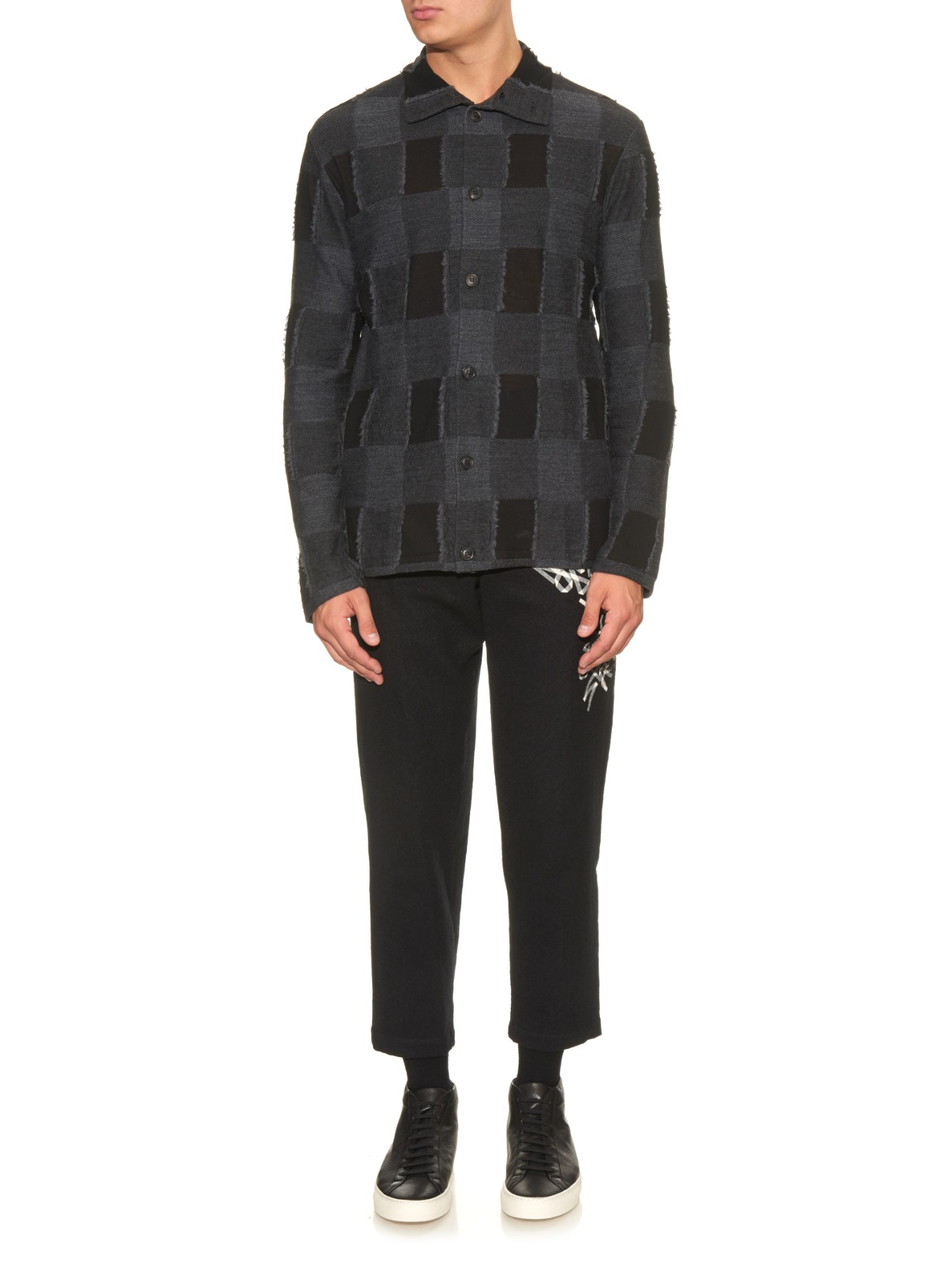 e3d8152375e Lyst - Yohji Yamamoto Tape-print Wool Trousers in Black for Men