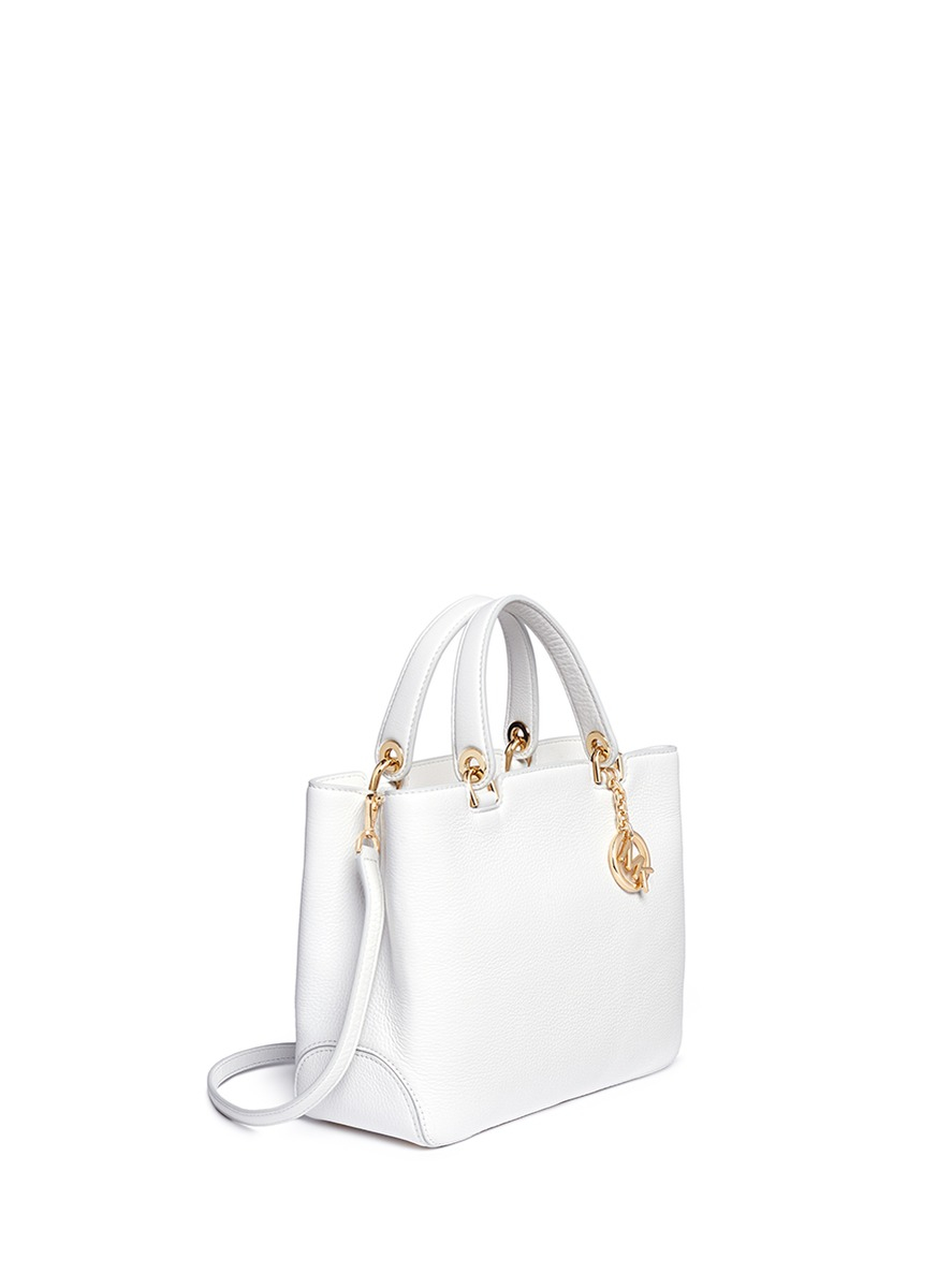 abc9325c3afa86 Michael Kors 'anabelle' Medium Leather Top Zip Tote in White - Lyst
