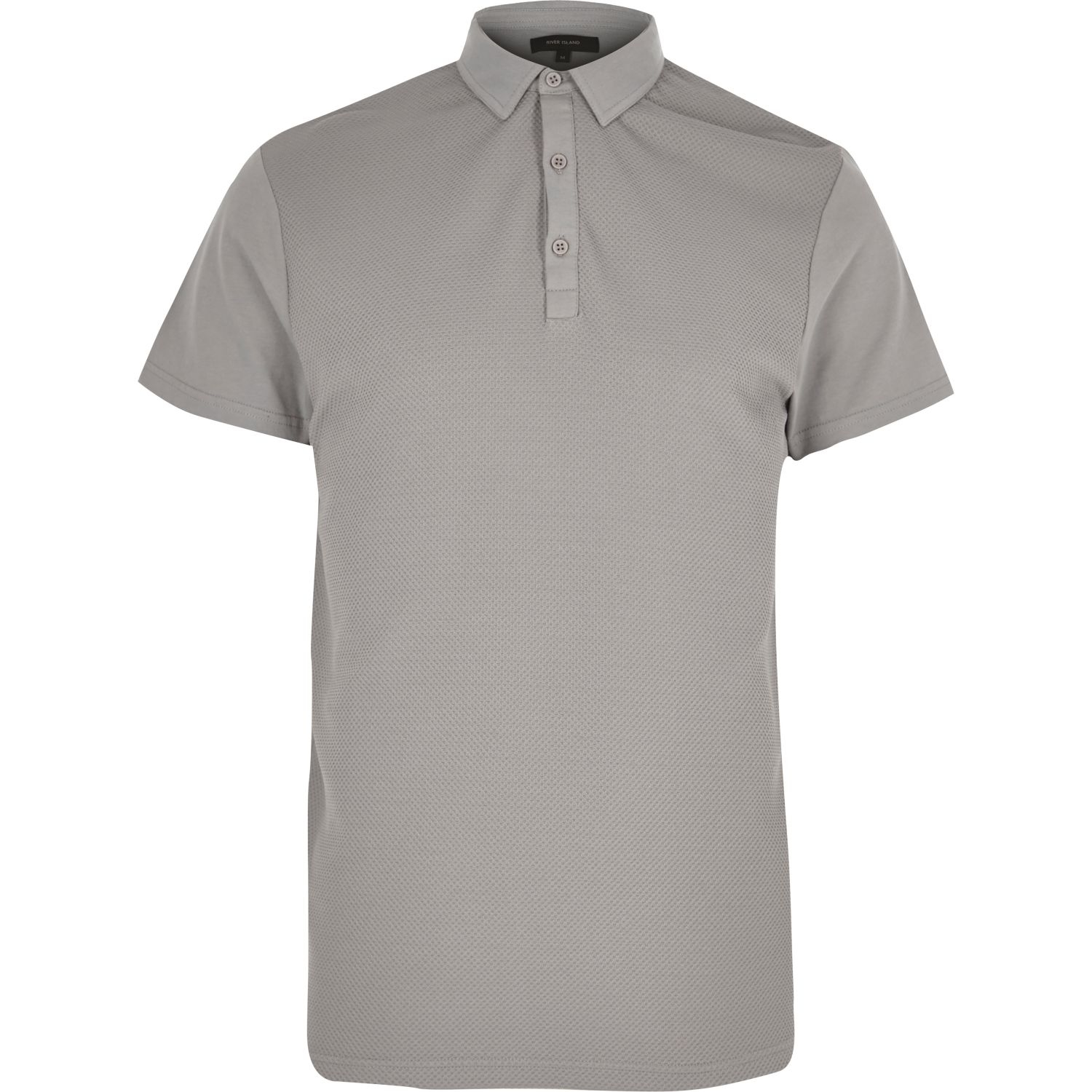 aaca14cb River Island Grey Textured Front Polo Shirt in Gray for Men - Lyst