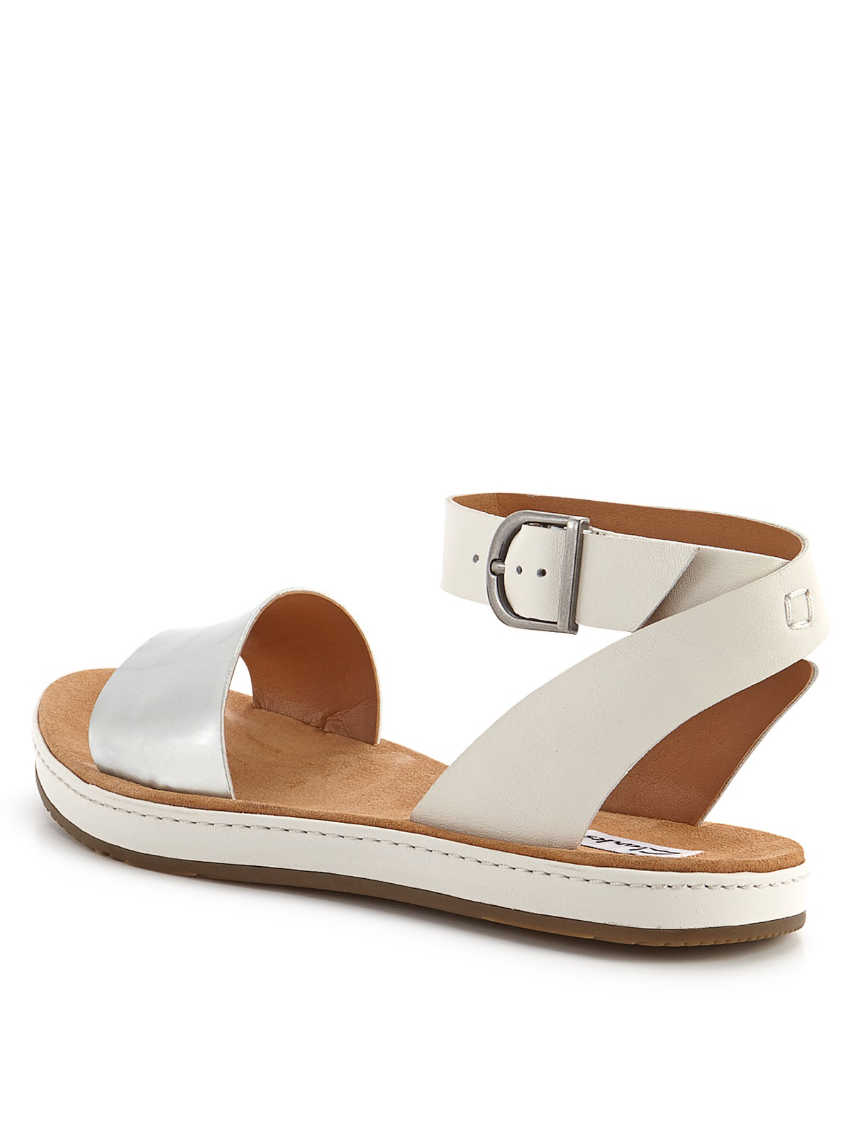 Clarks Romantic Moon Flat Ankle Strap Sandals In White