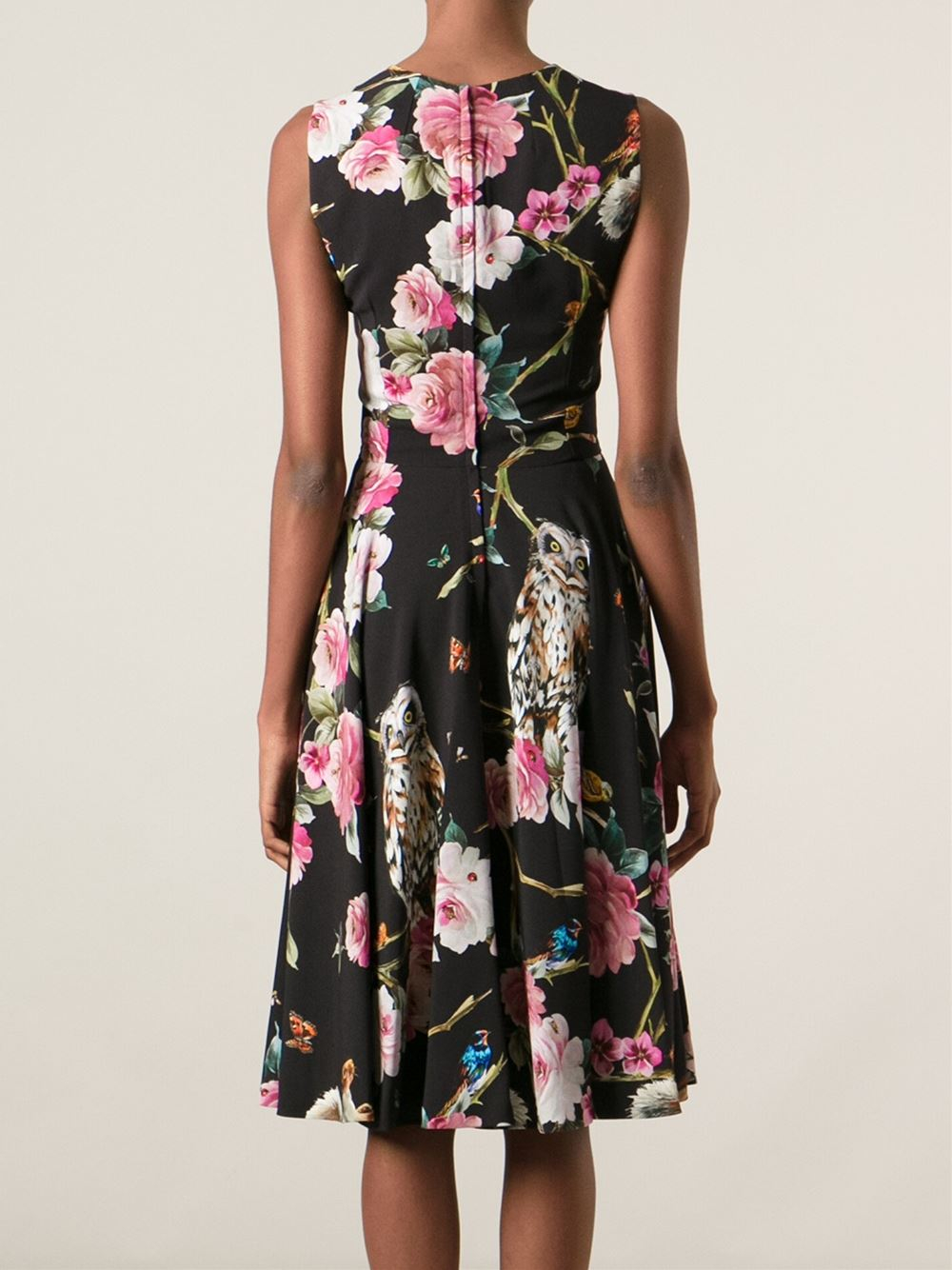 ae1aa5c8bd Lyst - Dolce   Gabbana Floral Animal Print Dress in Black